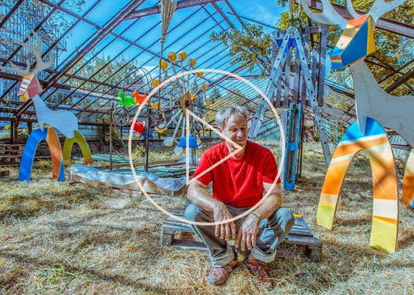 Olivier Louloum kinetic artist at ArtBat Festival