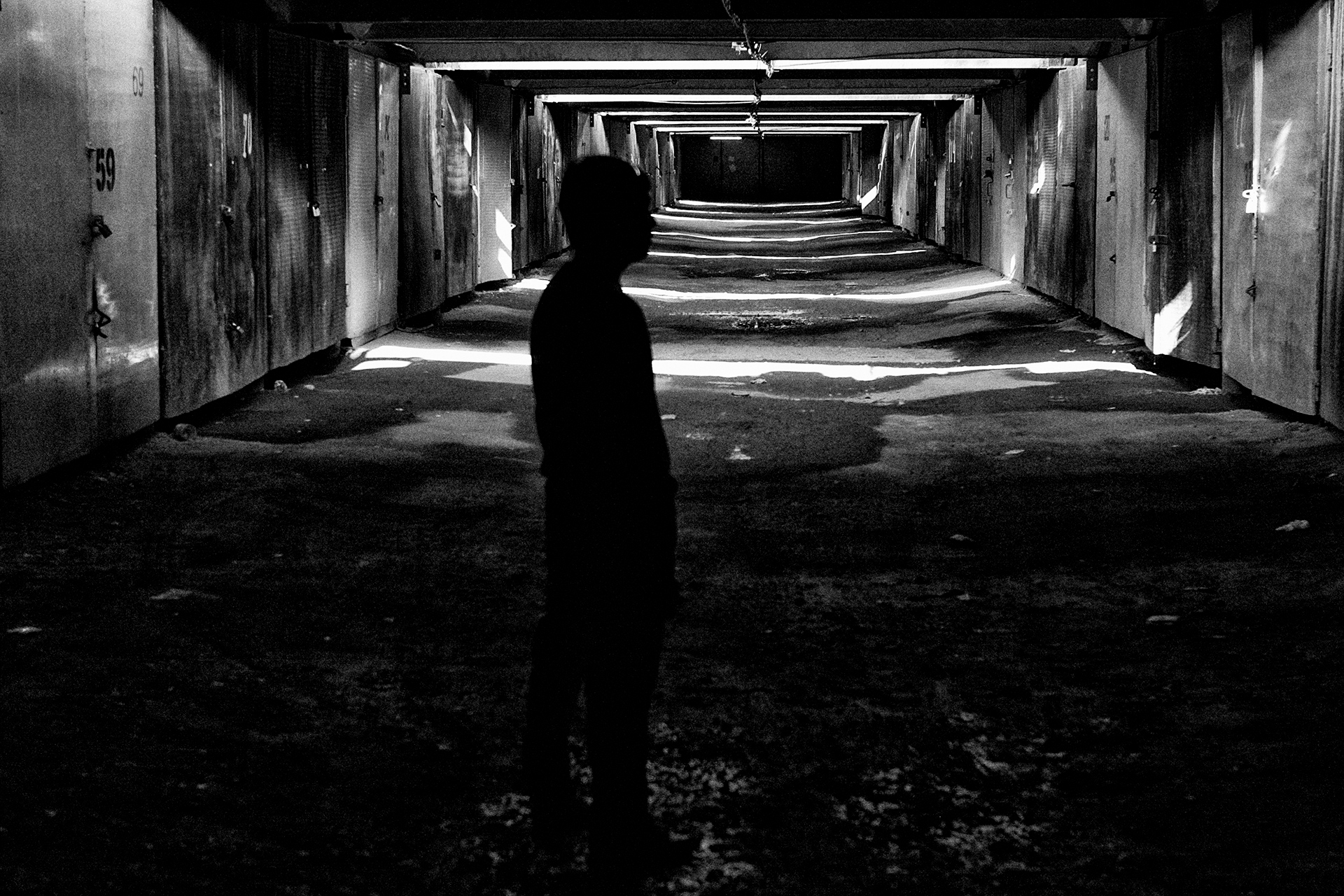 Underground, ODD exhibition, silhouette, stripes, dark, black, gothic, industrial