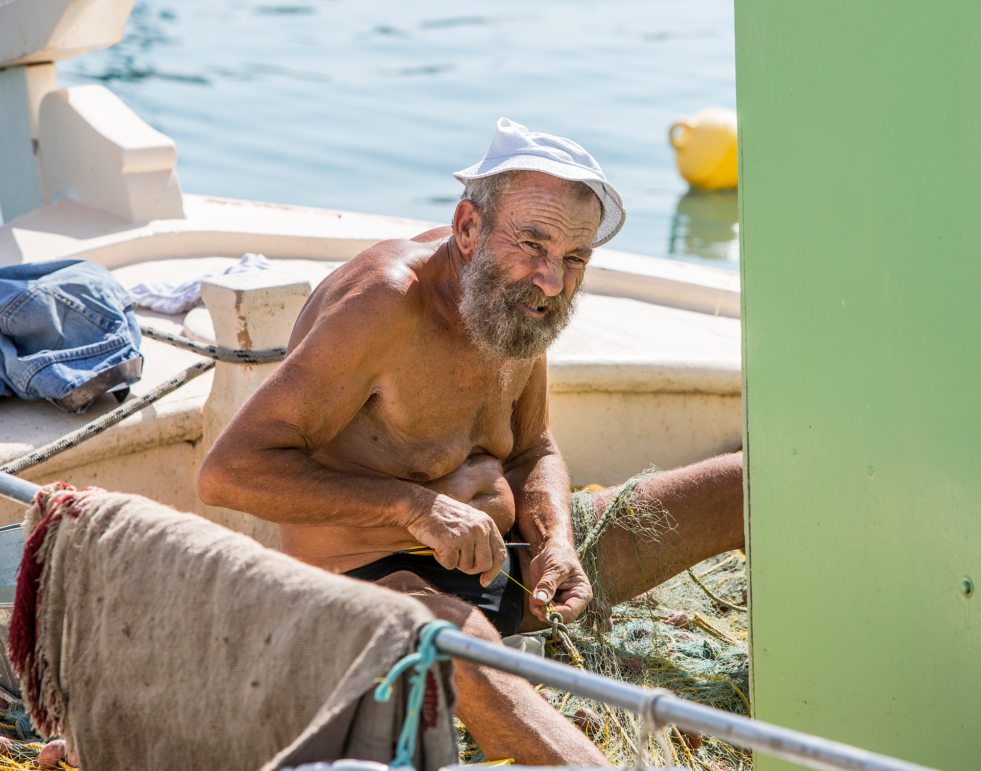 Fisherman, Corinth, Greece, networking, net, nets