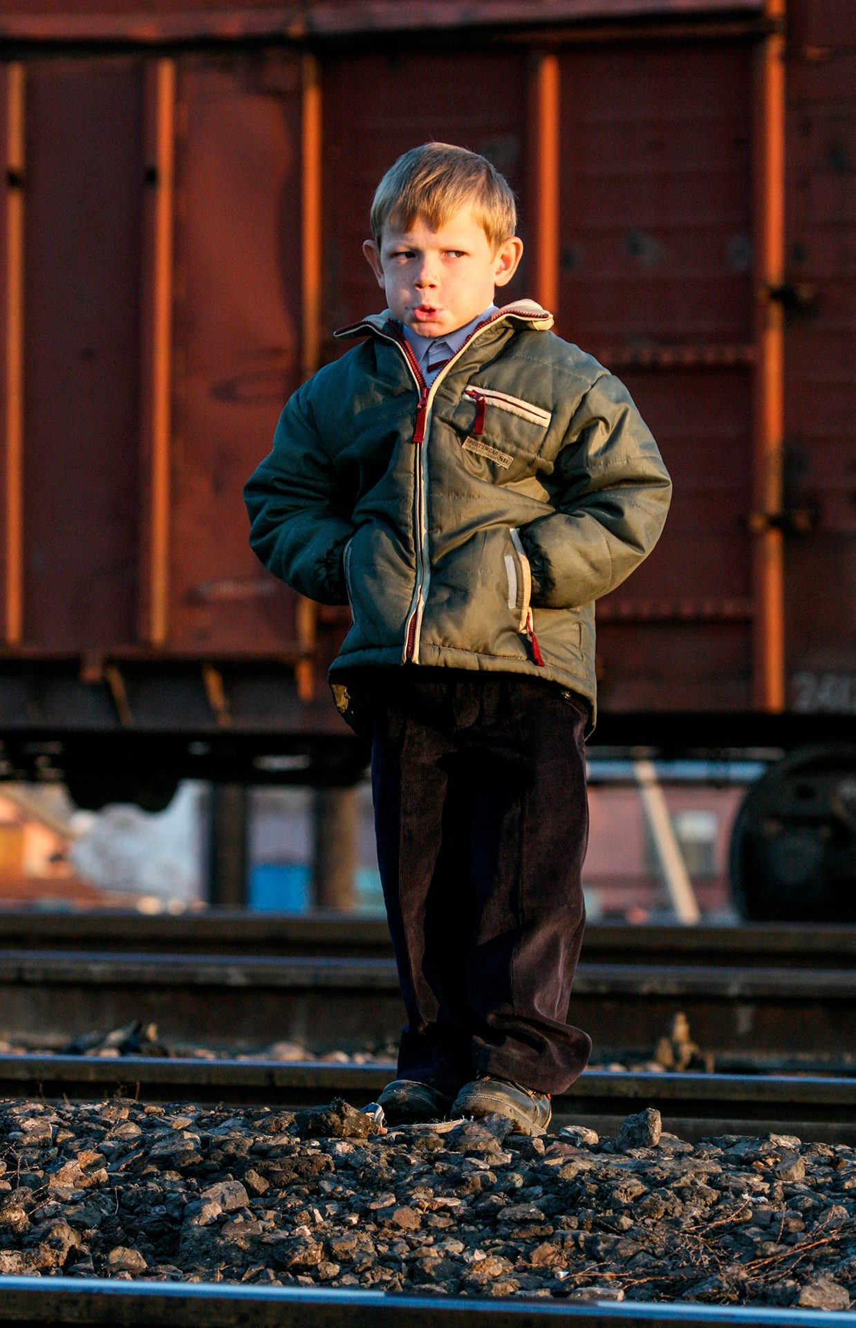 Long recess, Almaty, kid, boy, mood, railway, junction