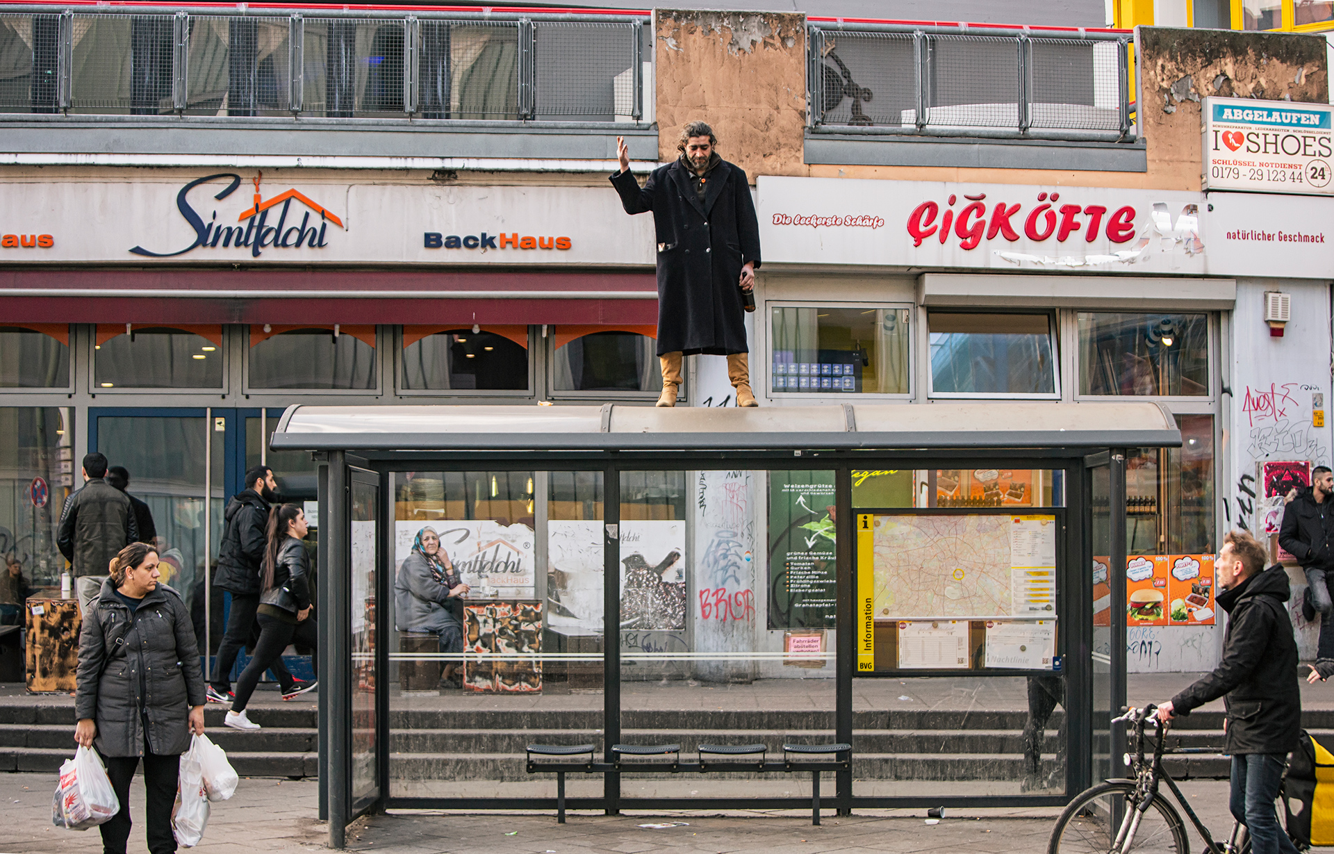Street, Poet, Berlin, Germany. Europe, freedom, beggar, vagabond, bus stop