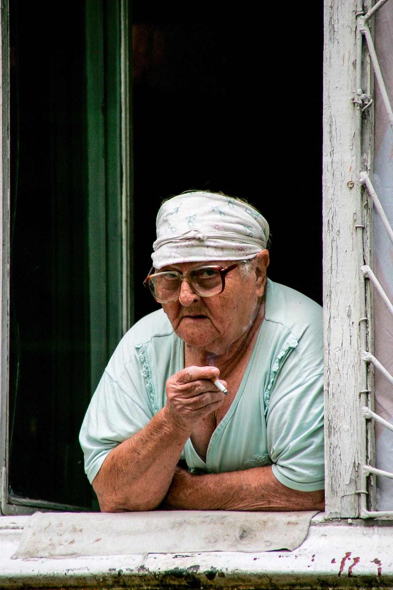 Babushka, granny, smoker, window, eldery, Almaty, Kazakhstan, soviet