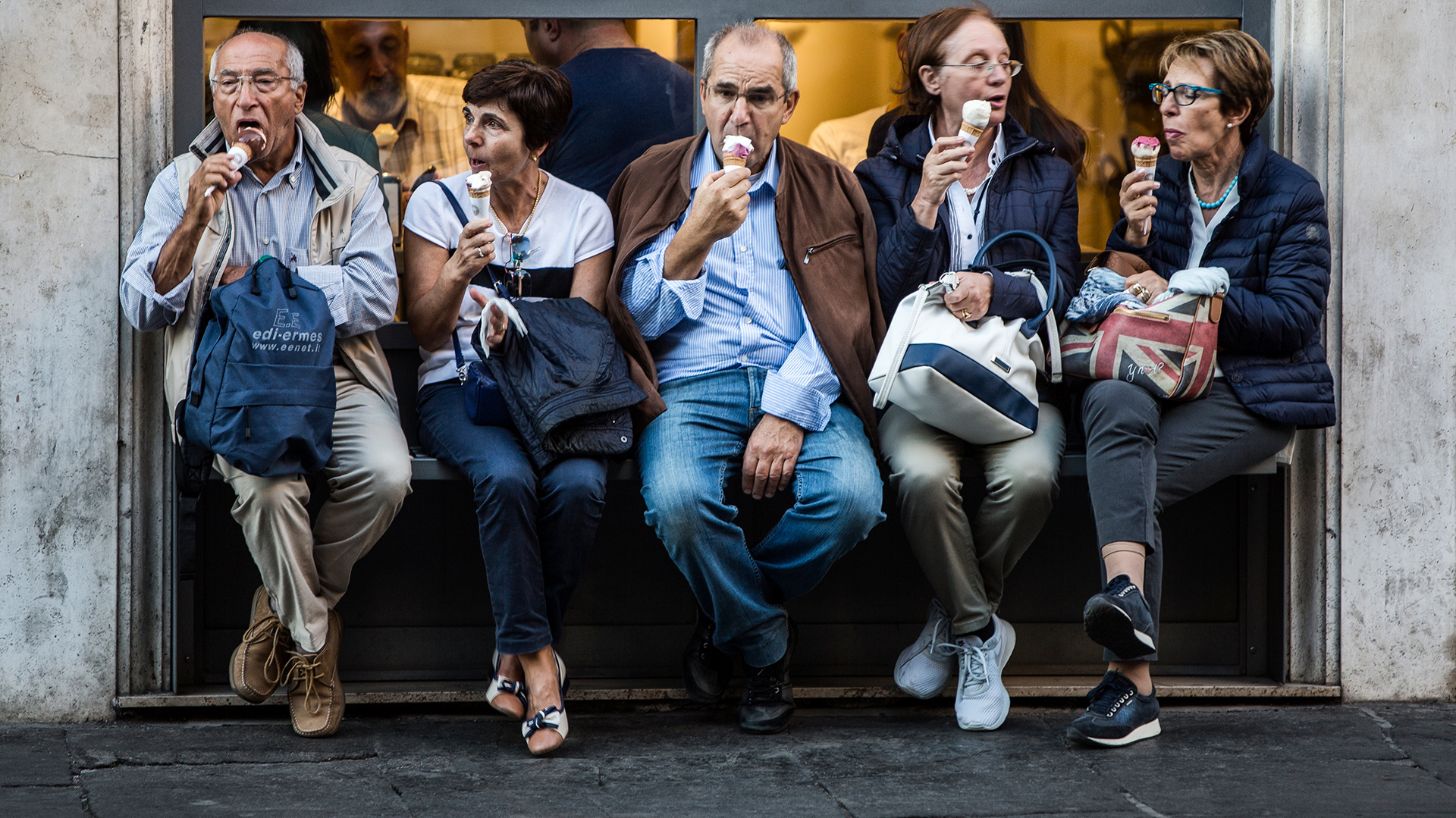 La Dolce Vita, Rome, Italy, pensioneers, elderly, old, ice cream