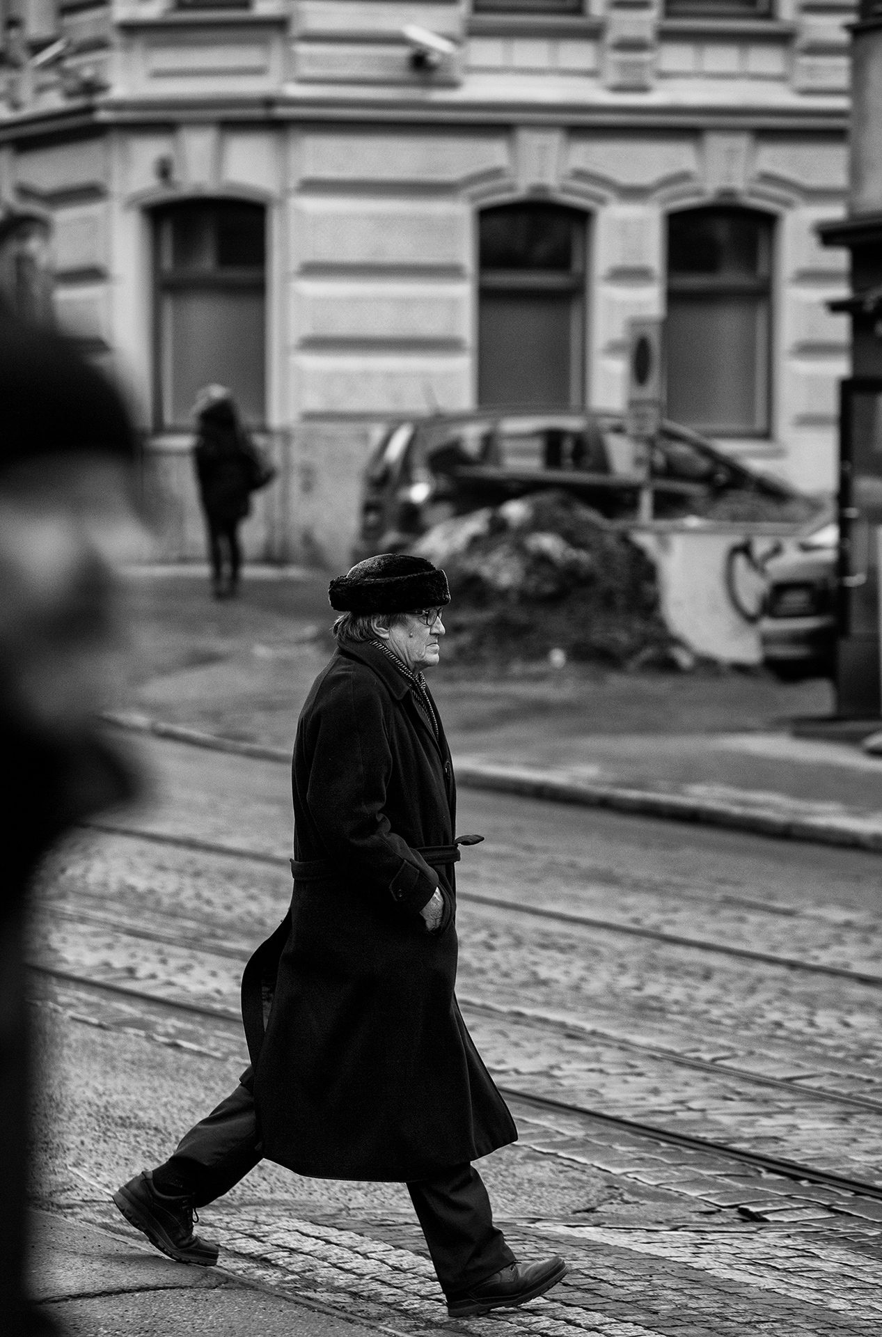 Walker, Helsinki, Finland, street, black, Scandic, style, dark, gothic, man walking