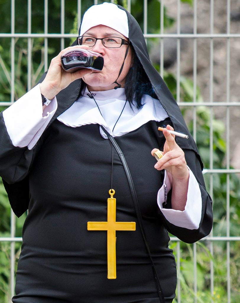 Rebel, monk, nun, Helsinki, Finland, smoking, smoker, drink, alcohol, cigarette