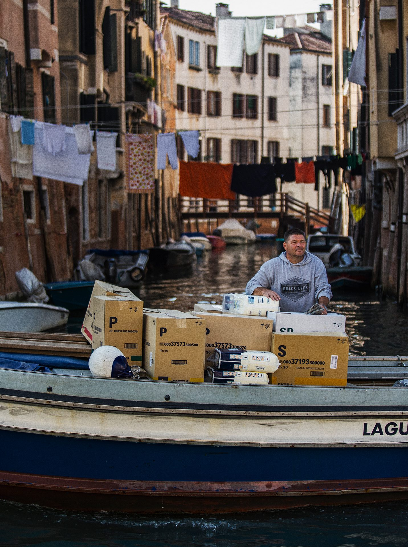 Venice, boat, channel, Italy, worker, working class hero, Italian