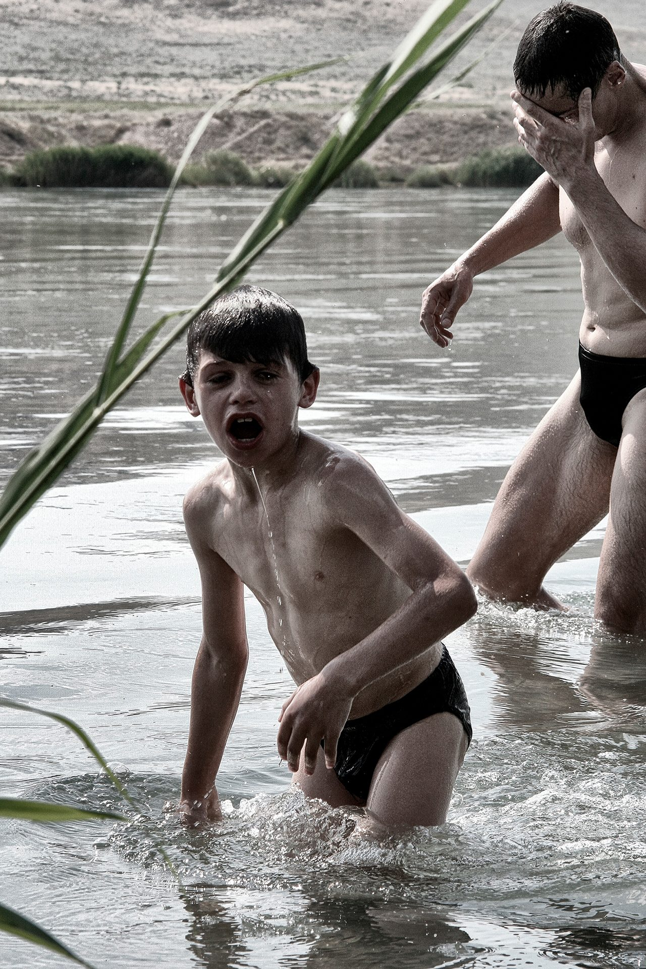 Father and son, Ili river, Almaty area, swimming, water, family, relations