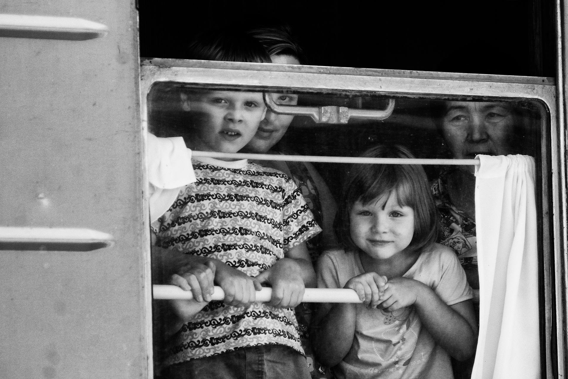 Train, trip, Burabay, Kazakhstan, people, kids, window