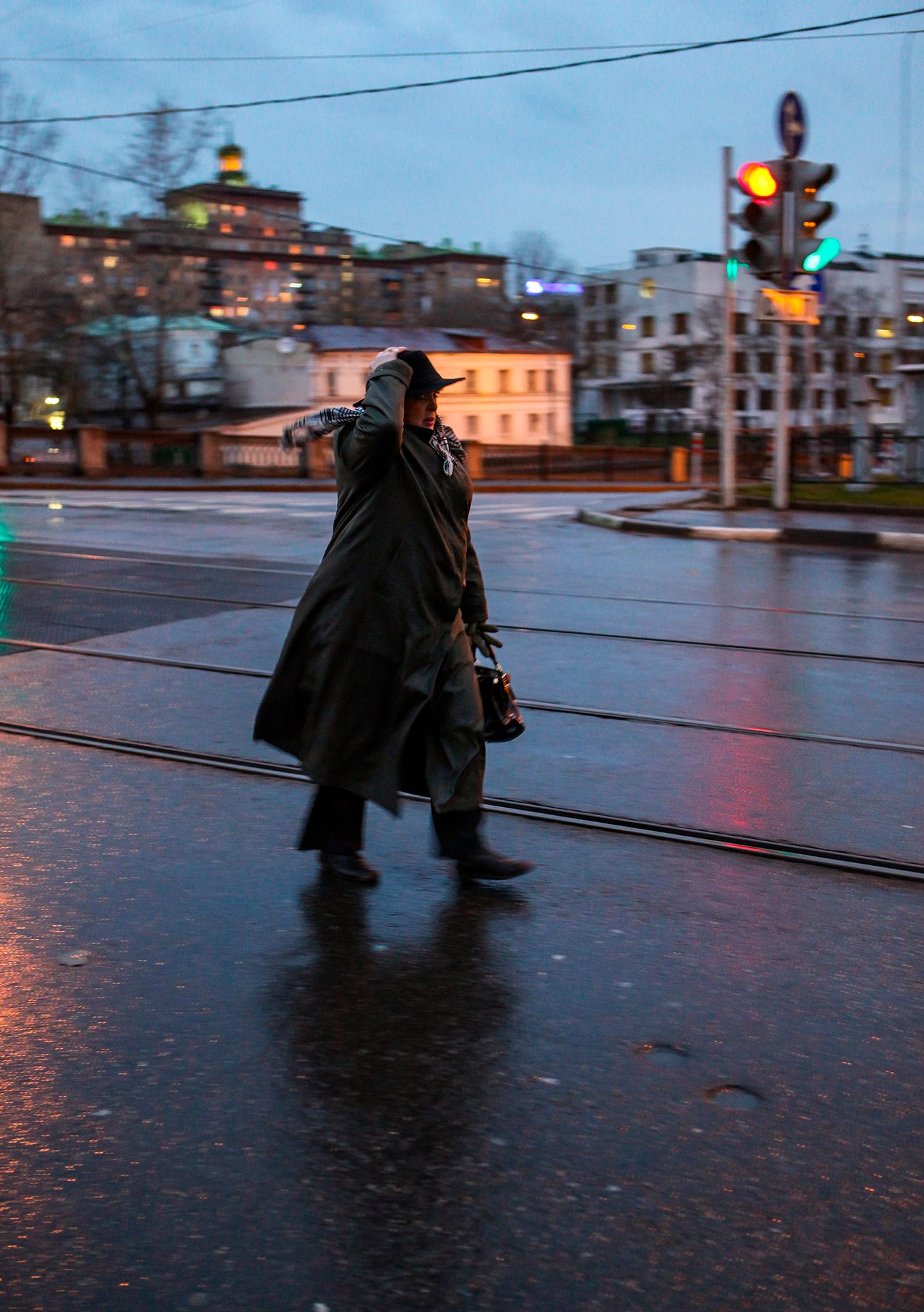 Moscow, Russia, wind, hat, woman, road, rain, weather