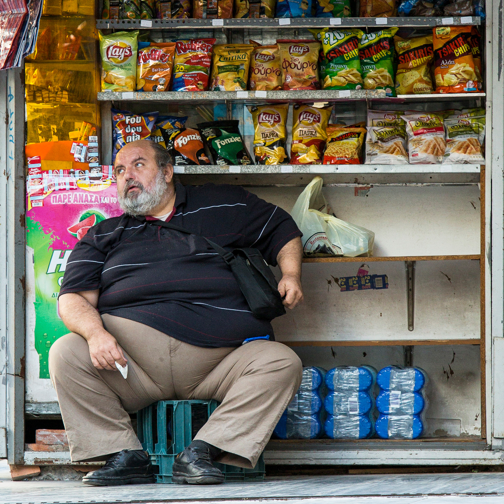 Chips seller, Athens, Greece, Greek, fat, overweight, merchant, crisps, chubby
