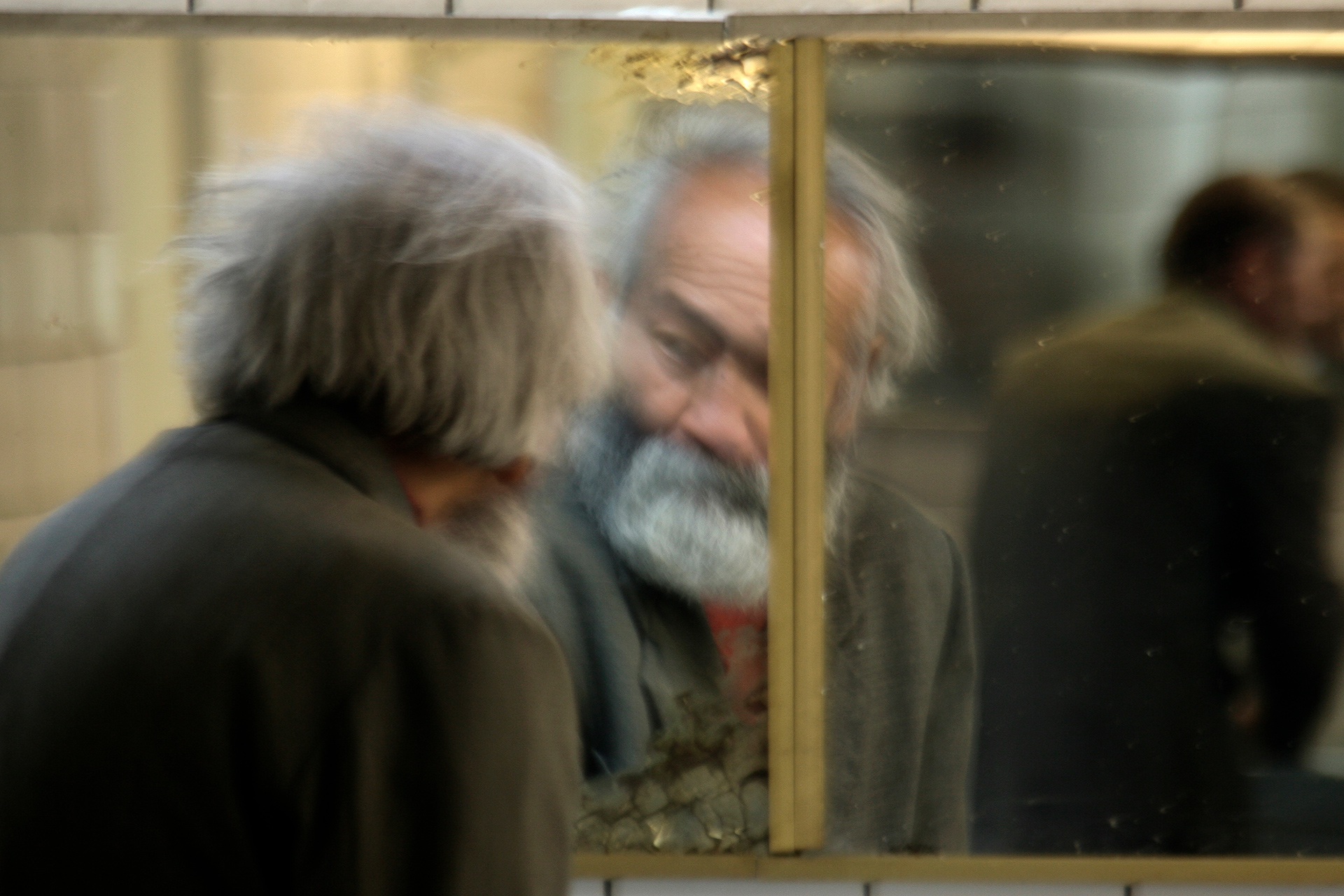 Muratbek, tramp, Almaty, Kazakhstan, angel, grandfather, old, homelessness, poor, reflection, mirror