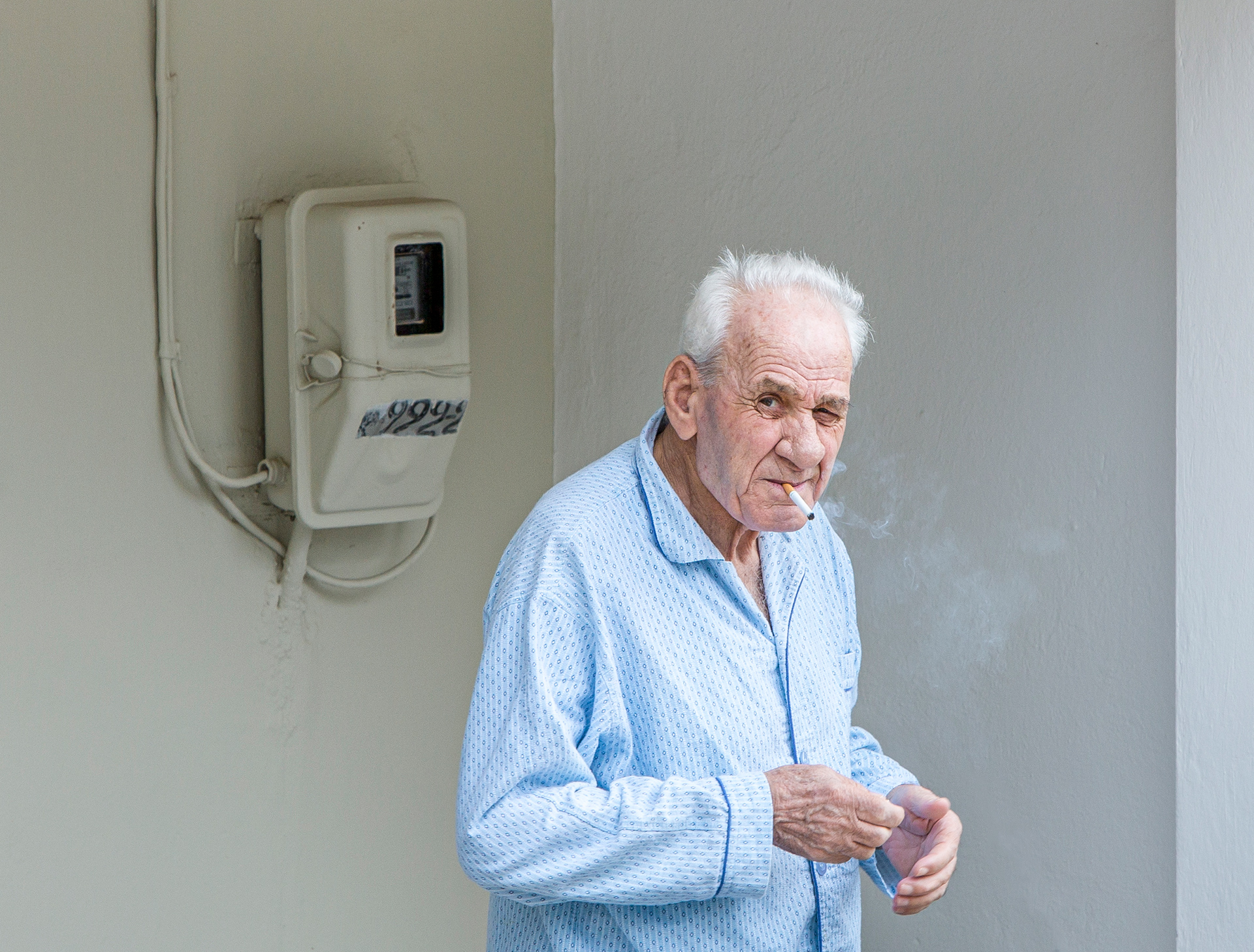 Smoker, Greece, Loutraki, old man, smoking, suspect, suspecting