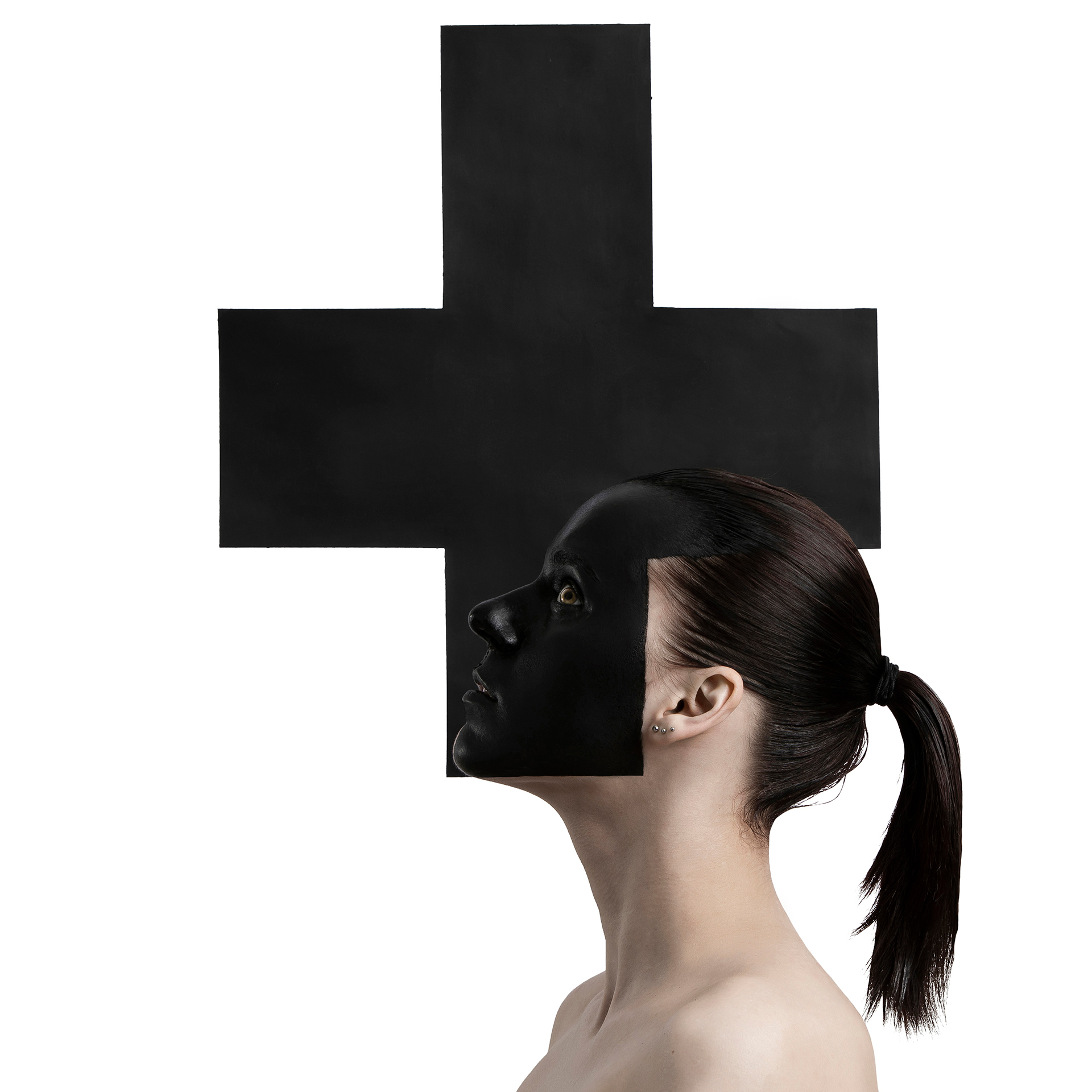 Black Cross, Kazimir Malevich, suprematism, triptych, Black Square, Black Circle, Black Cross, Model, Varvara Agapova, Painting, Eugenia Sorokina, Idea, photography, Ivan Bessedin, art, studio, minimalism, fashion