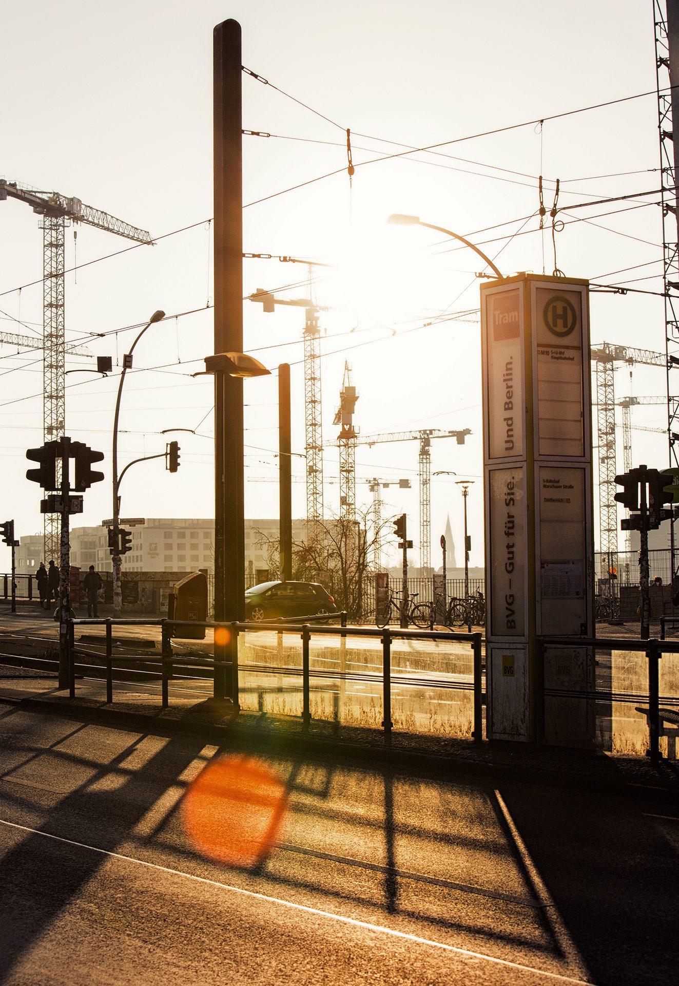 Berlin, Germany, urban, city, sunset, shadows
