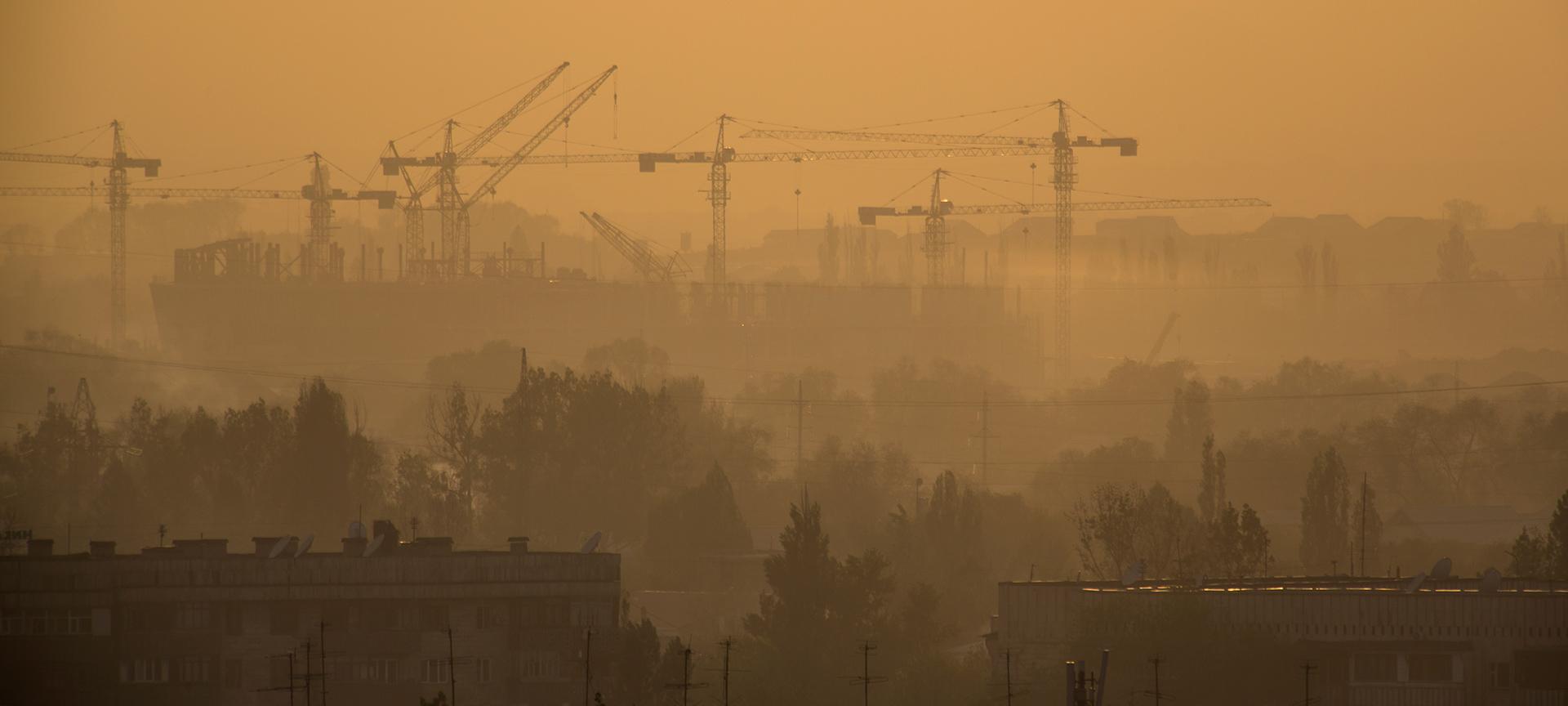 Noon, Almaty, dust, smoke, smog, construction, Kazakhstan
