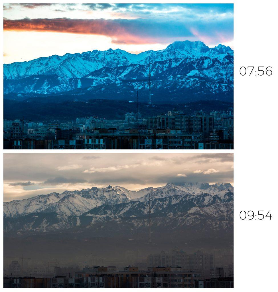 Almaty smog, ecology, smoke, Kazakhstan, smog, mountains, Tian-Shan