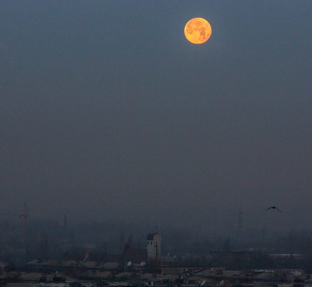 Moon, church, Almaty, view, Kazakhstan