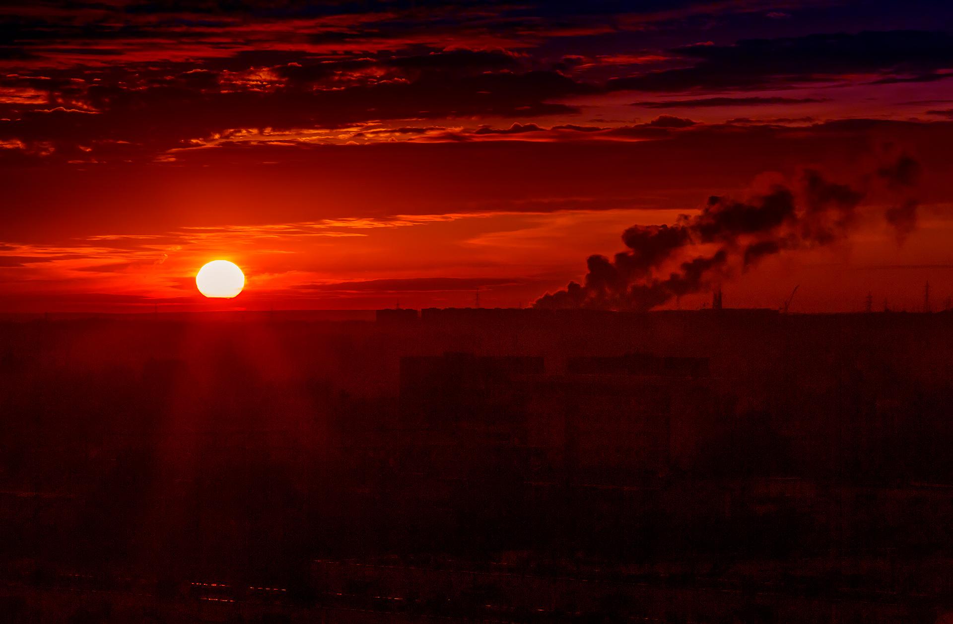 Sunset, Almaty, View, Almaty, smoke, smog, Kazakhstan, urban, architecture