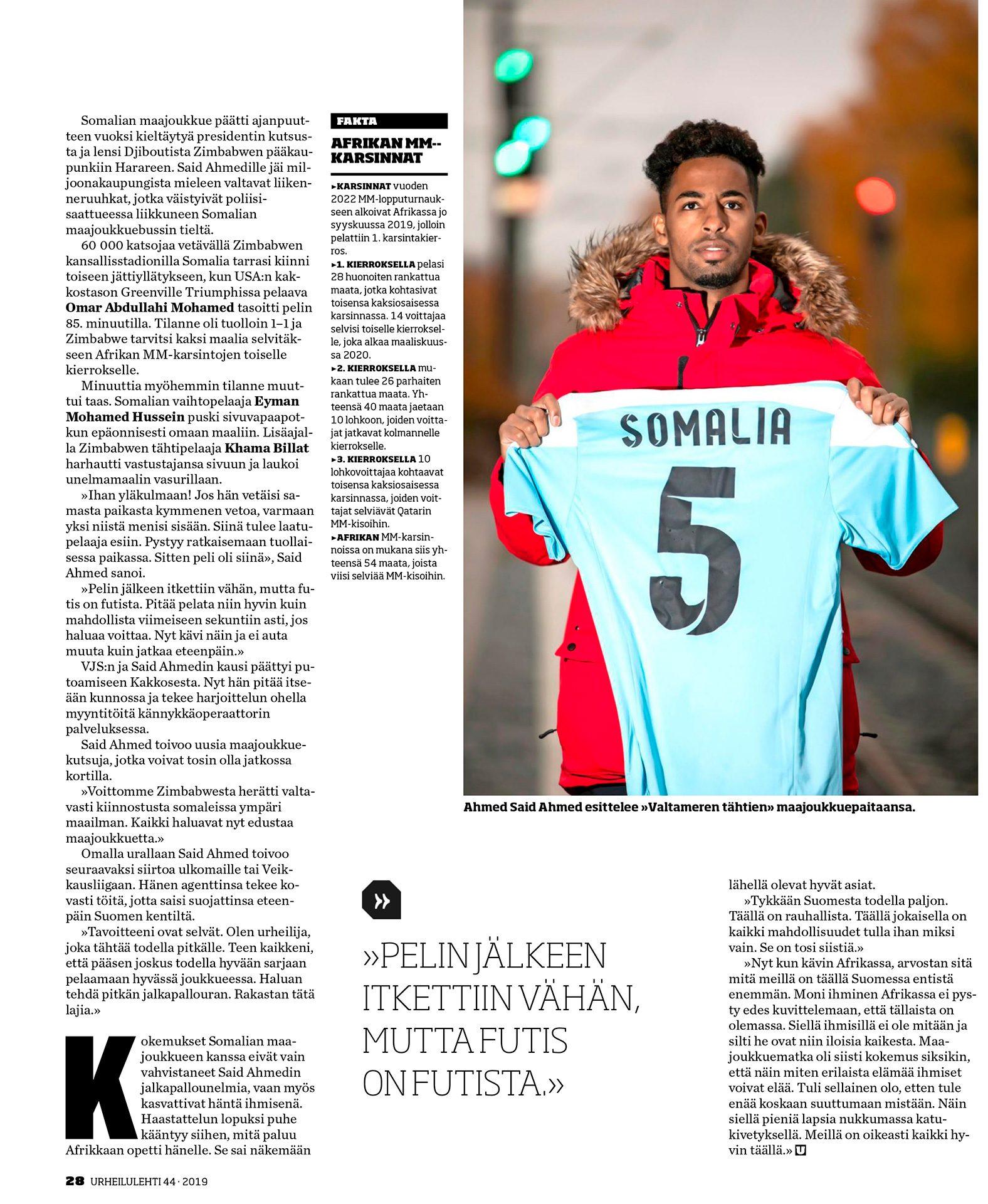 Urheilu Lehti, Ahmed Said Ahmed, footballer, suomalainen jalkapalloilija