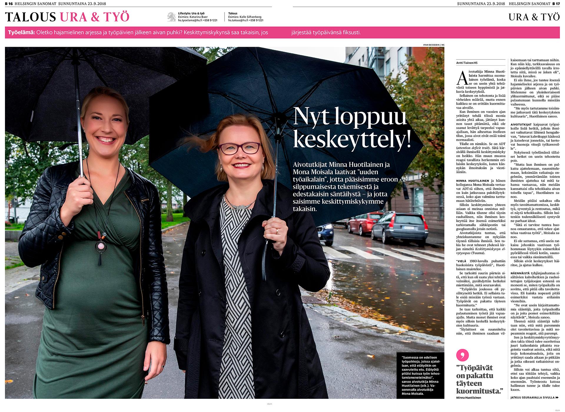 Helsingin Sanomat, Minna Huotilainen, Mona Moisala, aivotutkijat