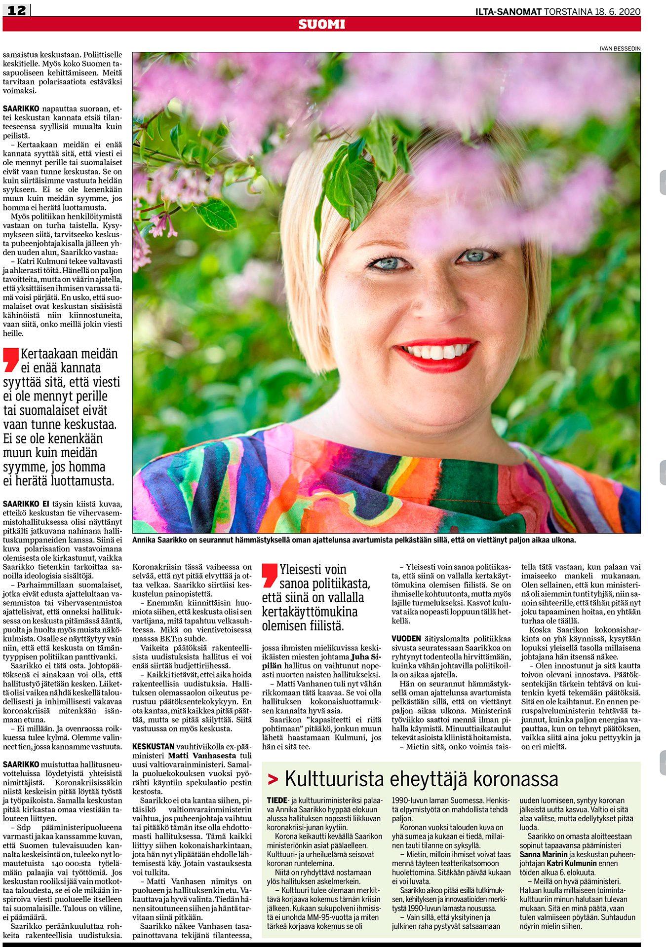 lta-Sanomat, Annika Saarikko, suomalainen, keskustaa edustava, poliitikko, keskusta