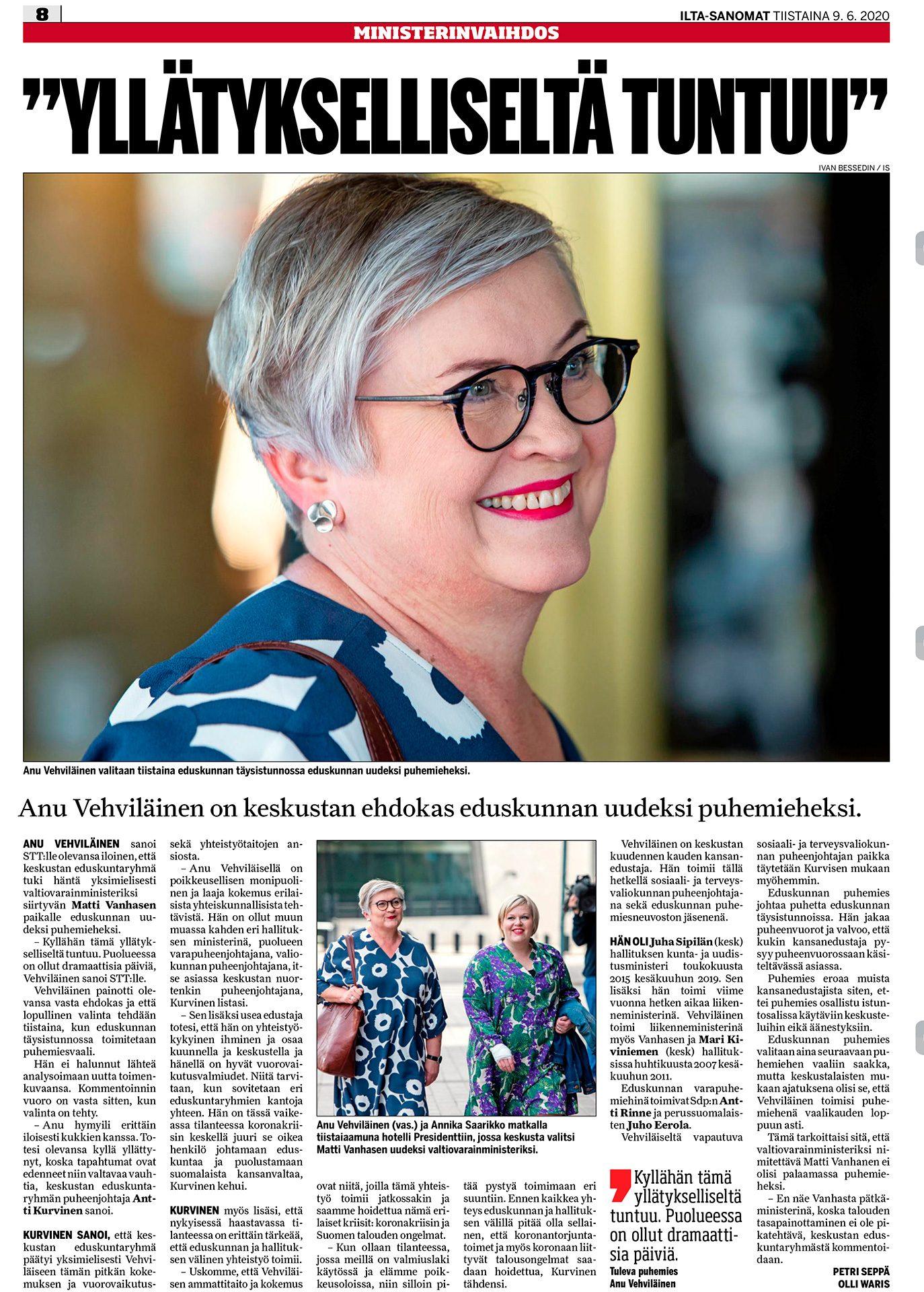 Ilta-Sanomat, Anu Vehviläinen, poliitikko