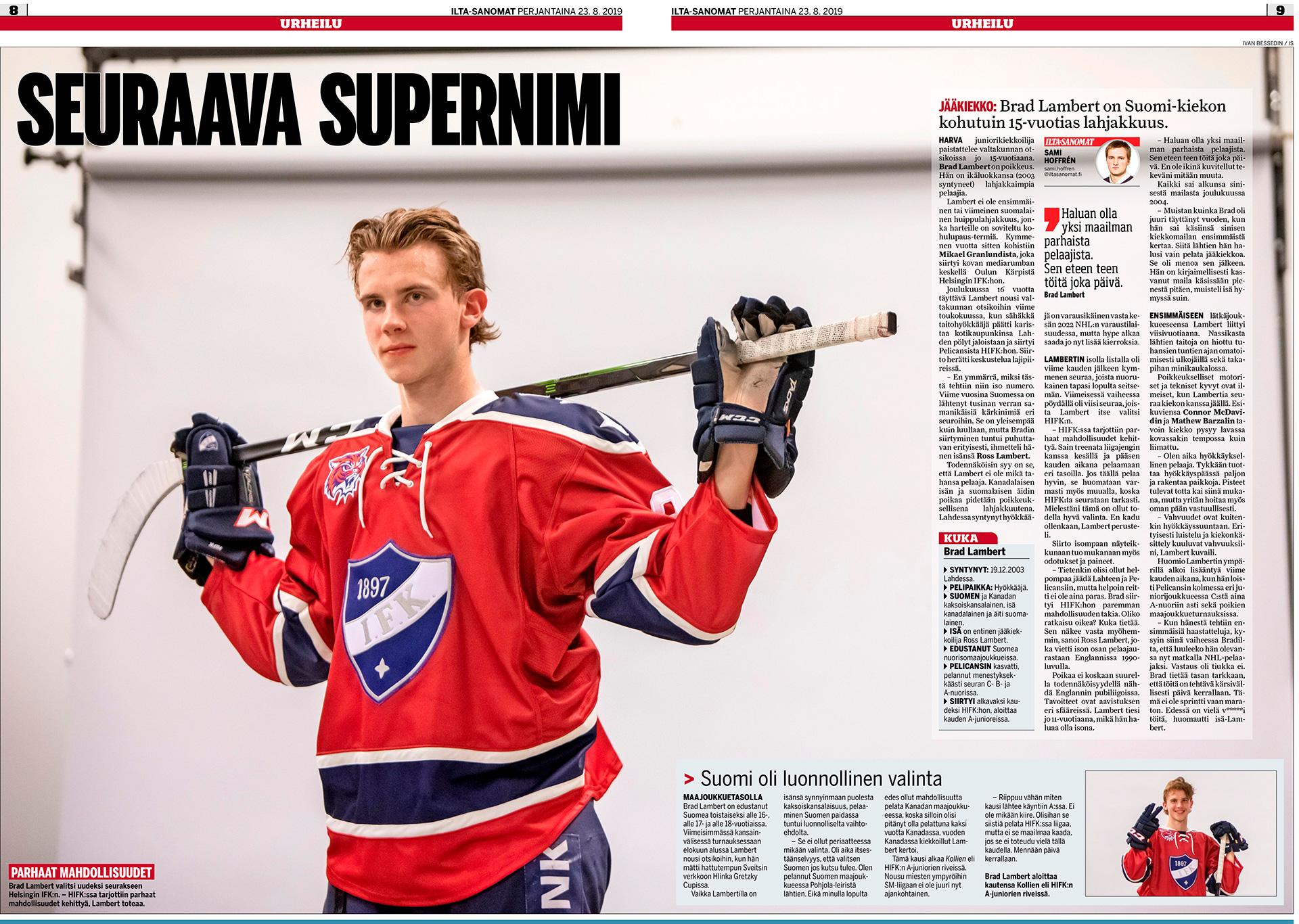 Ilta-Sanomat, Urheilu Lehti, Brad Lambert, hockey player, jääkiekkopuolustaja