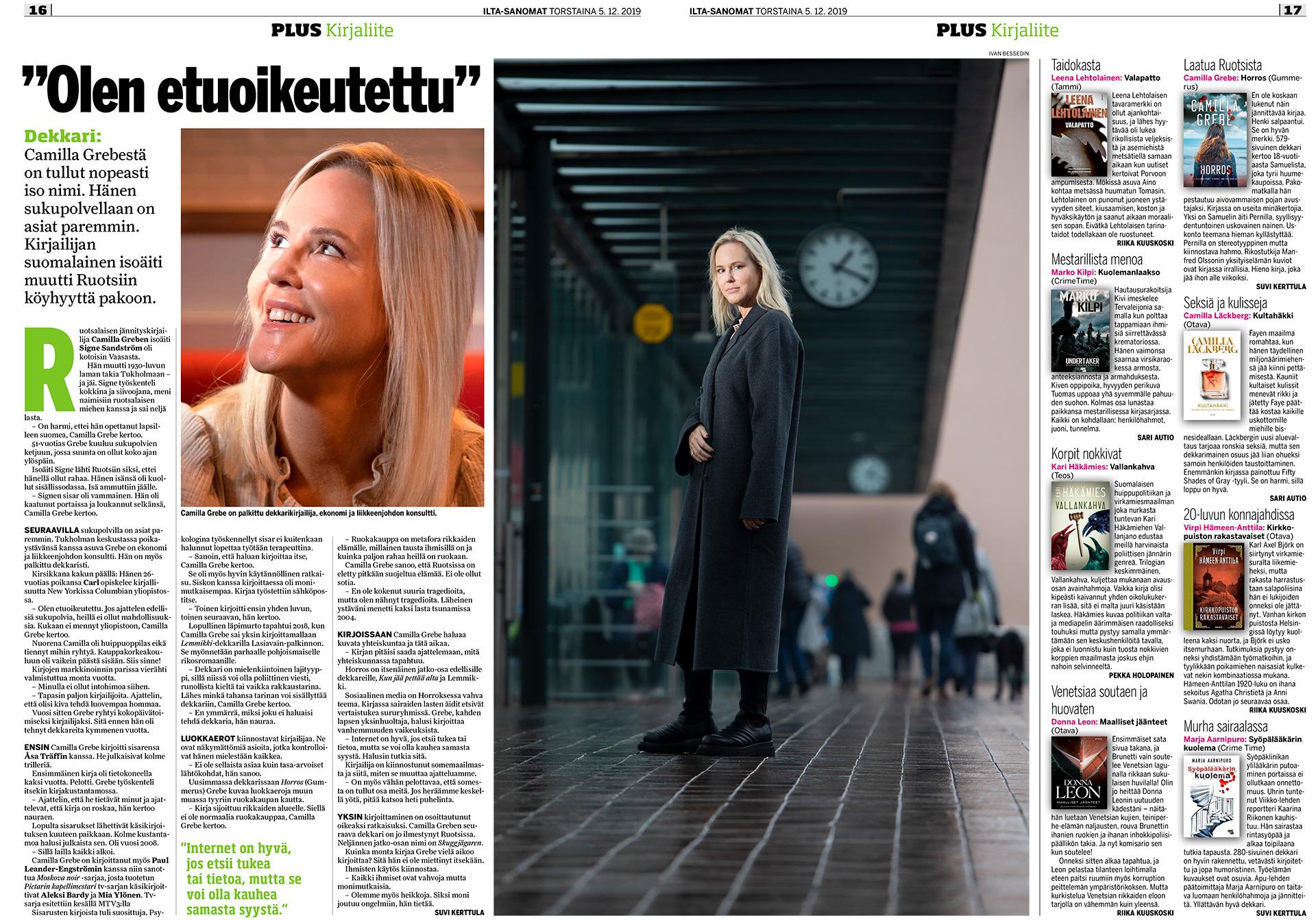 lta-Sanomat, Camilla Grebe, ruotsalainen jännityskirjailija