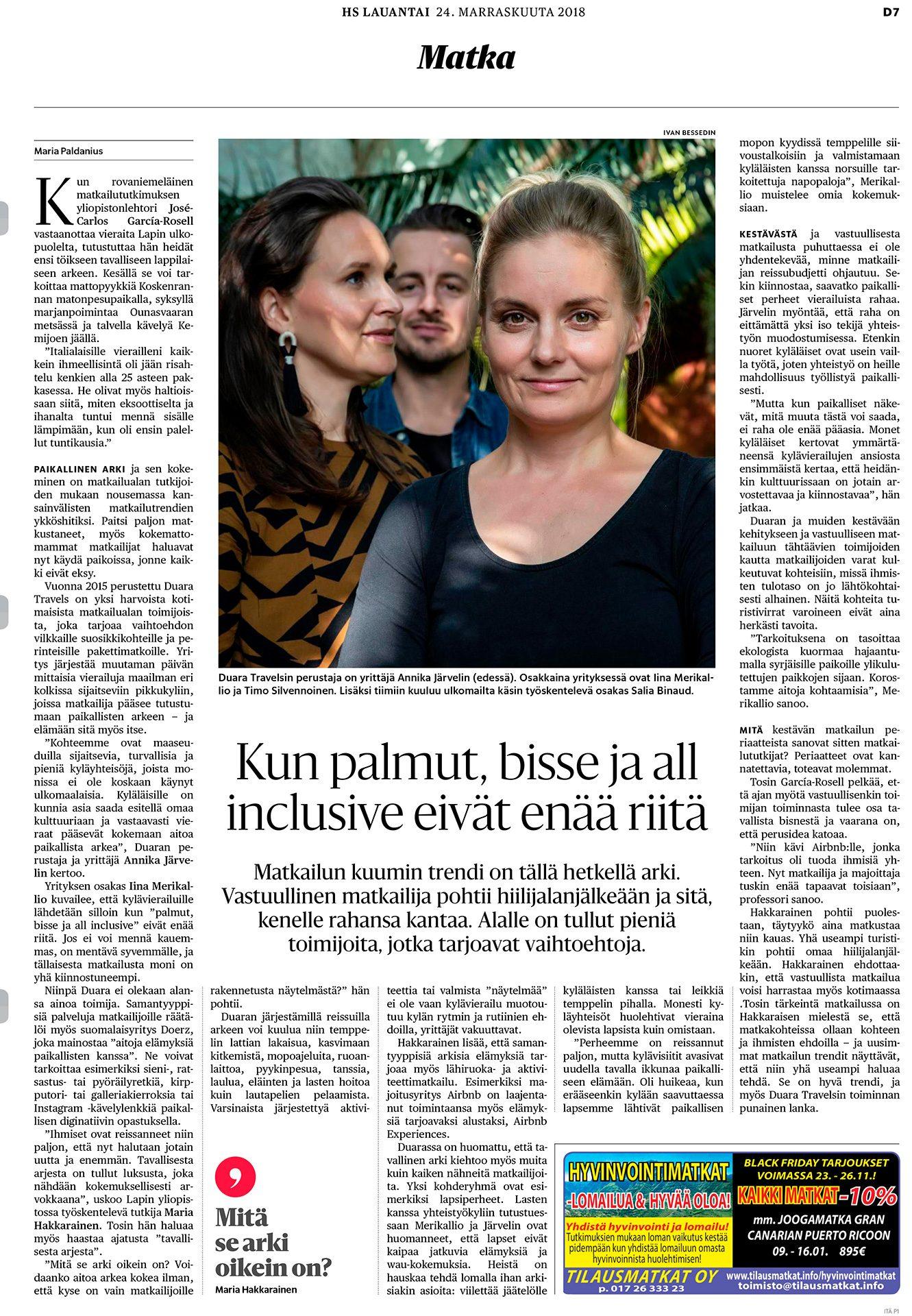 Helsingin Sanomat, Duara Travel Annika Järvelin, Iina Merikallio, Timo Silvennoinen, yrittäjät