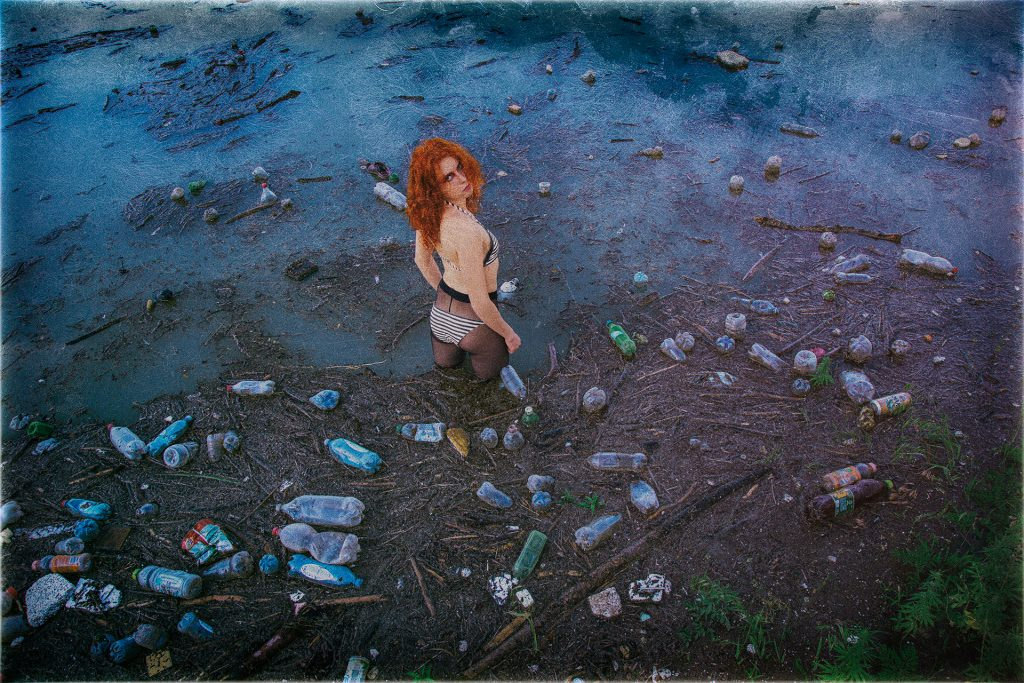 Peace of Meat, exhibition, Photographer, Ivan Bessedin, Model, Eugenia Fattahova, Fashion, designer, Indira Muratova, Almaty, art, model, style, abandoned, photo session, photoset, photography, thrash, trash, garbage, pollution, ecology, dirty, red girl, lake, cans, black stockings