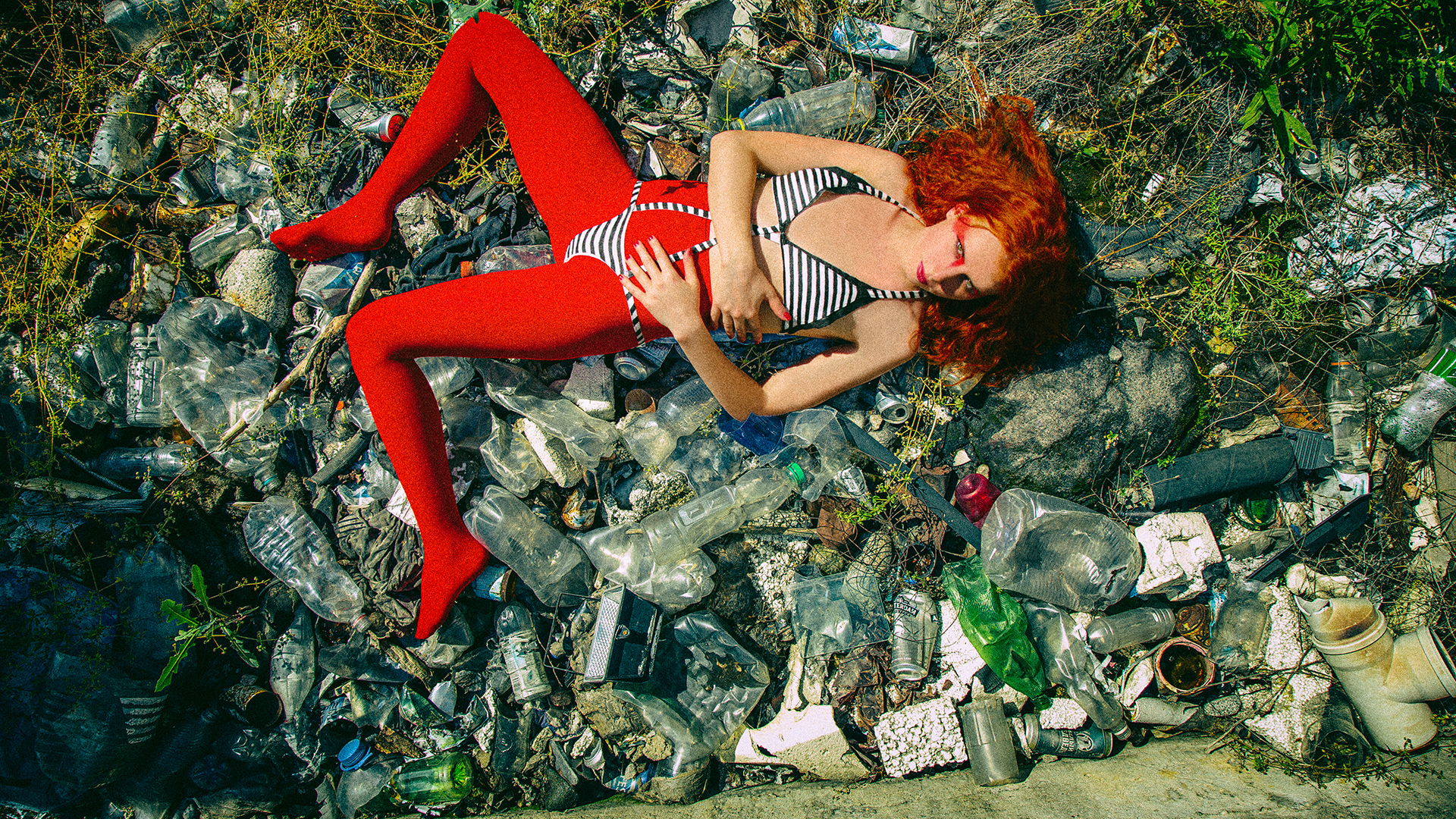 Peace of Meat, exhibition, Photographer, Ivan Bessedin, Model, Eugenia Fattahova, Fashion, designer, Indira Muratova, Almaty, art, model, style, abandoned, photo session, photoset, photography, thrash, trash, garbage, pollution, ecology, dirty, red girl, lake, cans
