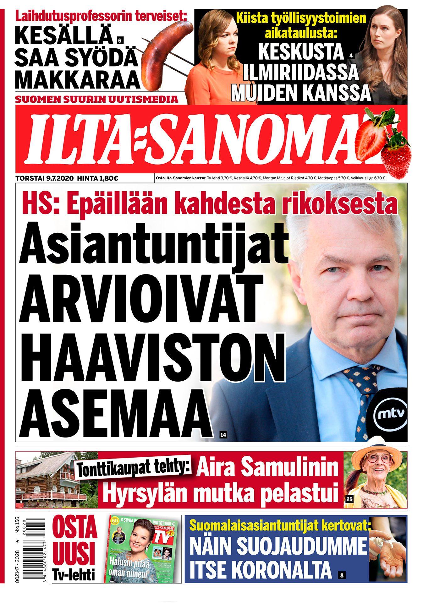 Ilta-Sanomat, Pekka Haavisto, poliitikko