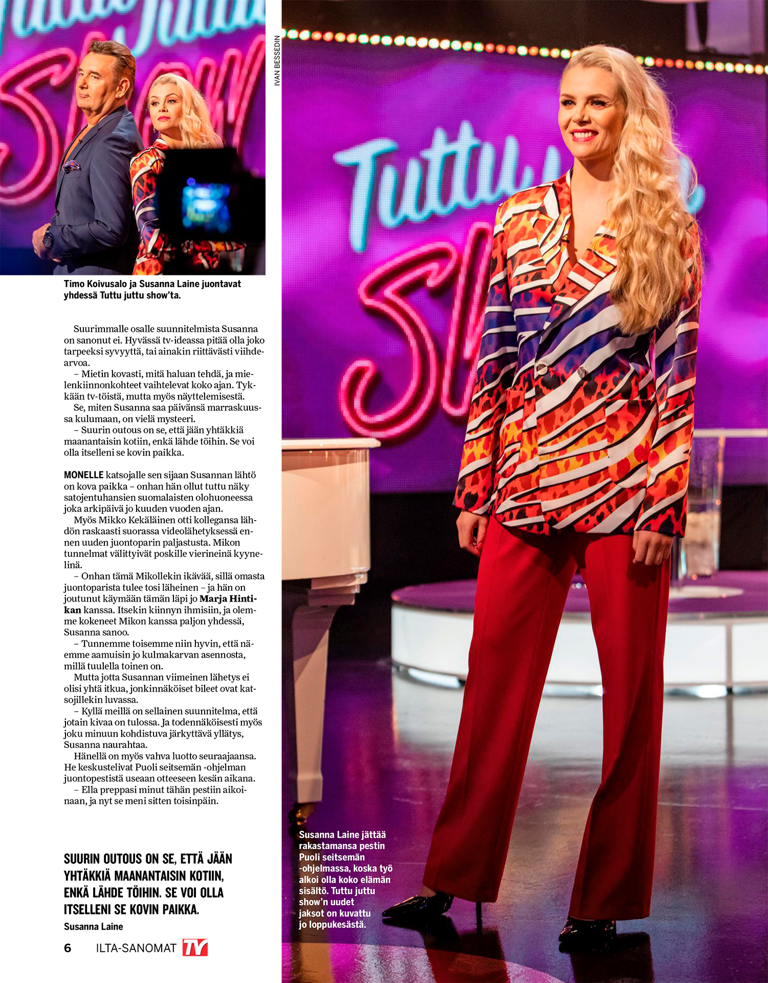 Ilta-Sanomat, TV-Lehti 2020, Susanna Laine, TV-host, Timo Koivusalo