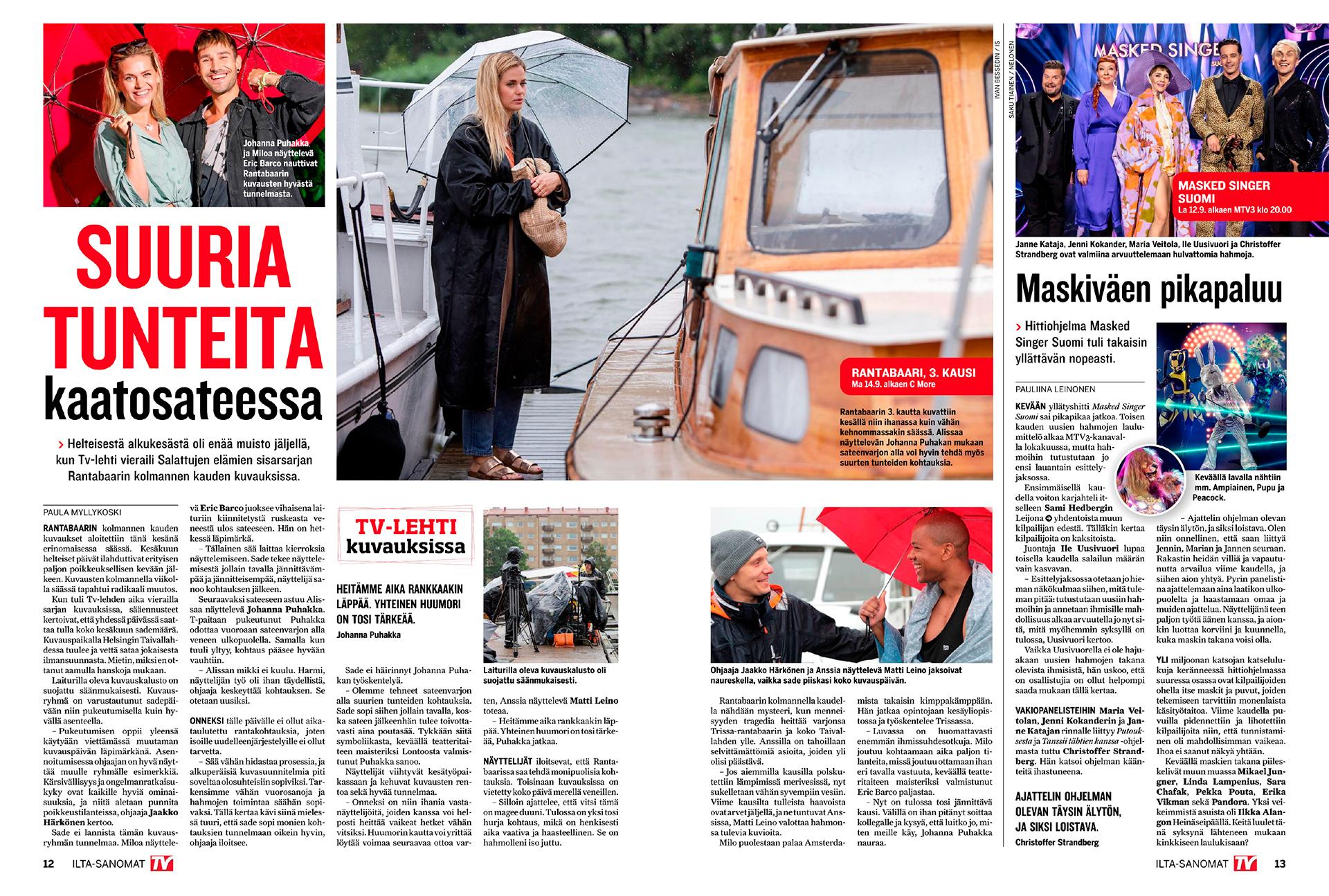 Ilta-Sanomat, TV lehti, 2020, Rantabaari. Johanna Puhakka, Eric Barco, Matti Leino, Rantabaari, Salatut elämät, Salkkarit spin-off, näyttelijät