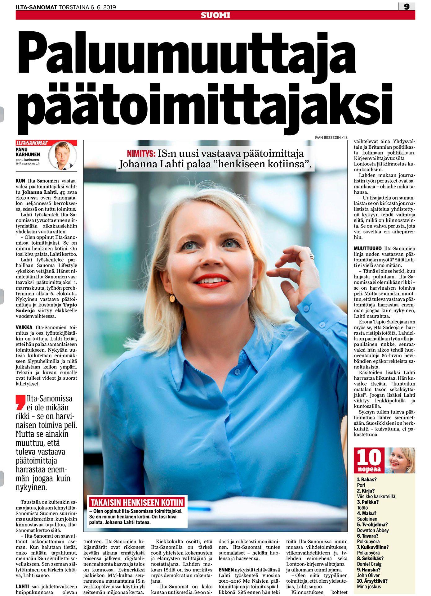 Ilta-Sanomat, Johanna Lahti, IS:n päätoimittaja