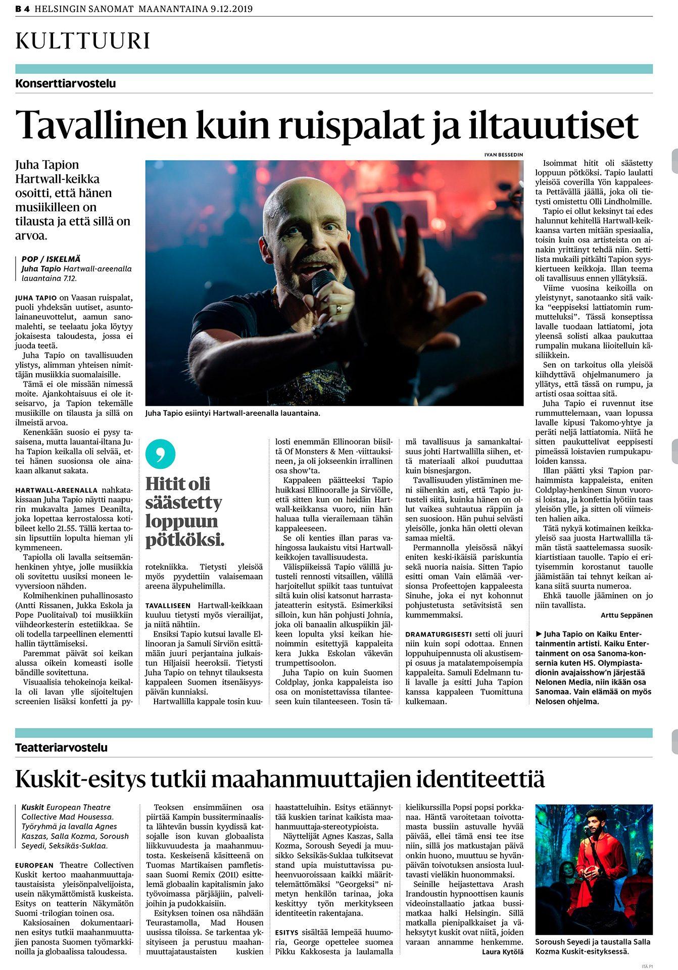 Helsingin Sanomat, Juha Tapio, laulaja
