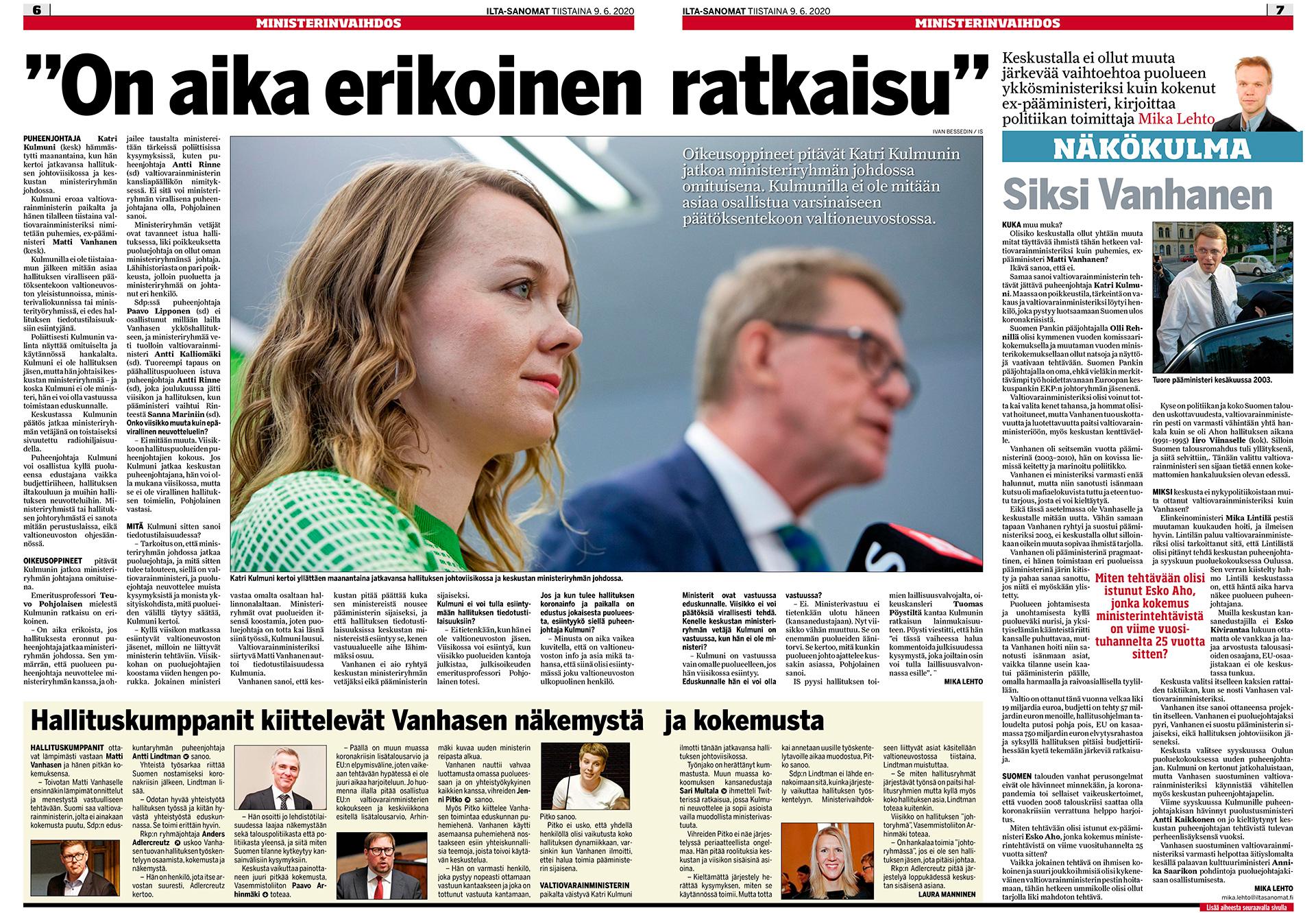 Ilta-Sanomat, Keskustan puheenjohtaja Katri Kulmuni, valtionvarainministeri Matti Vanhanen