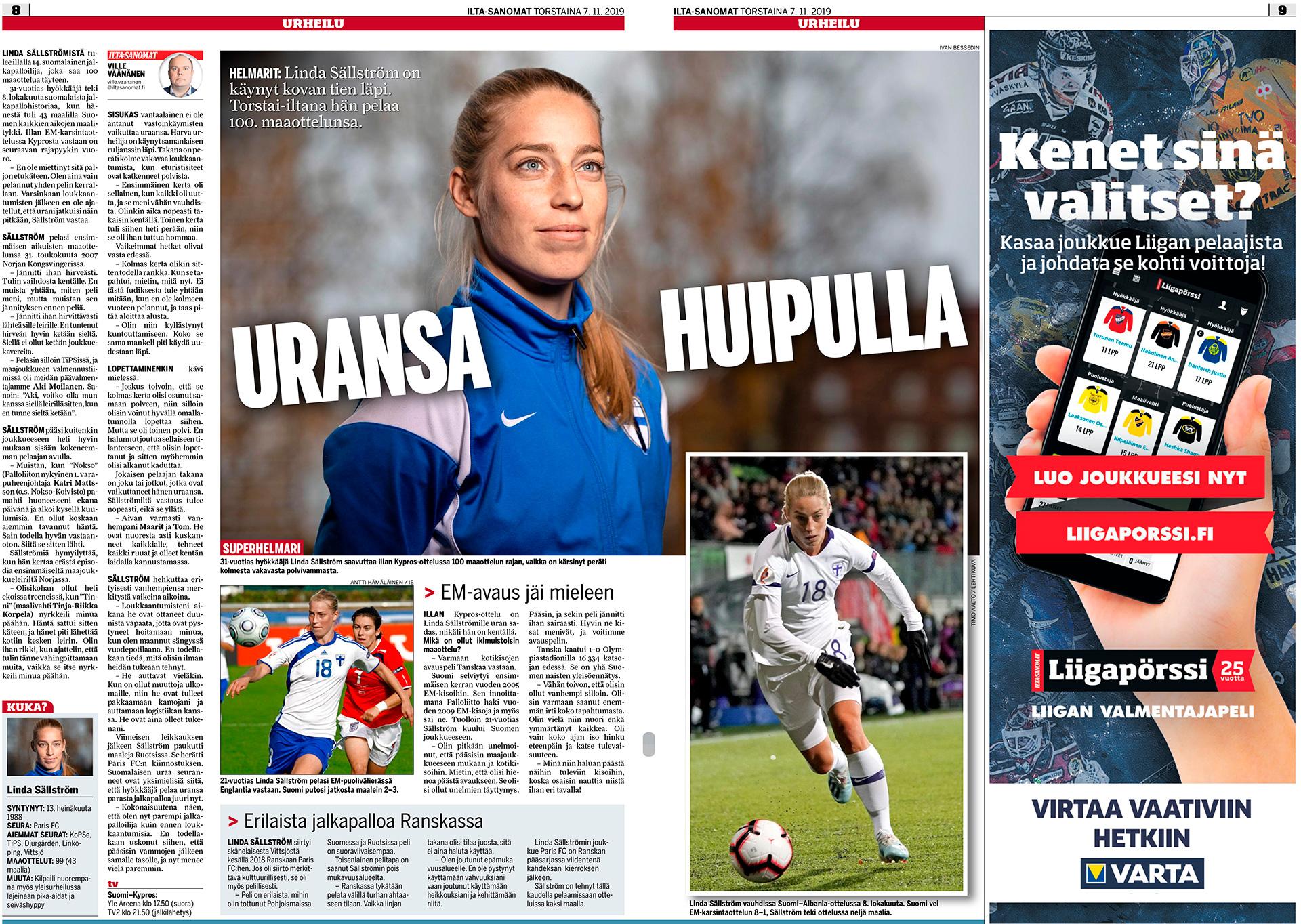 Urheilu Lehti, Linda Sällström, football player, jalkapalloilija
