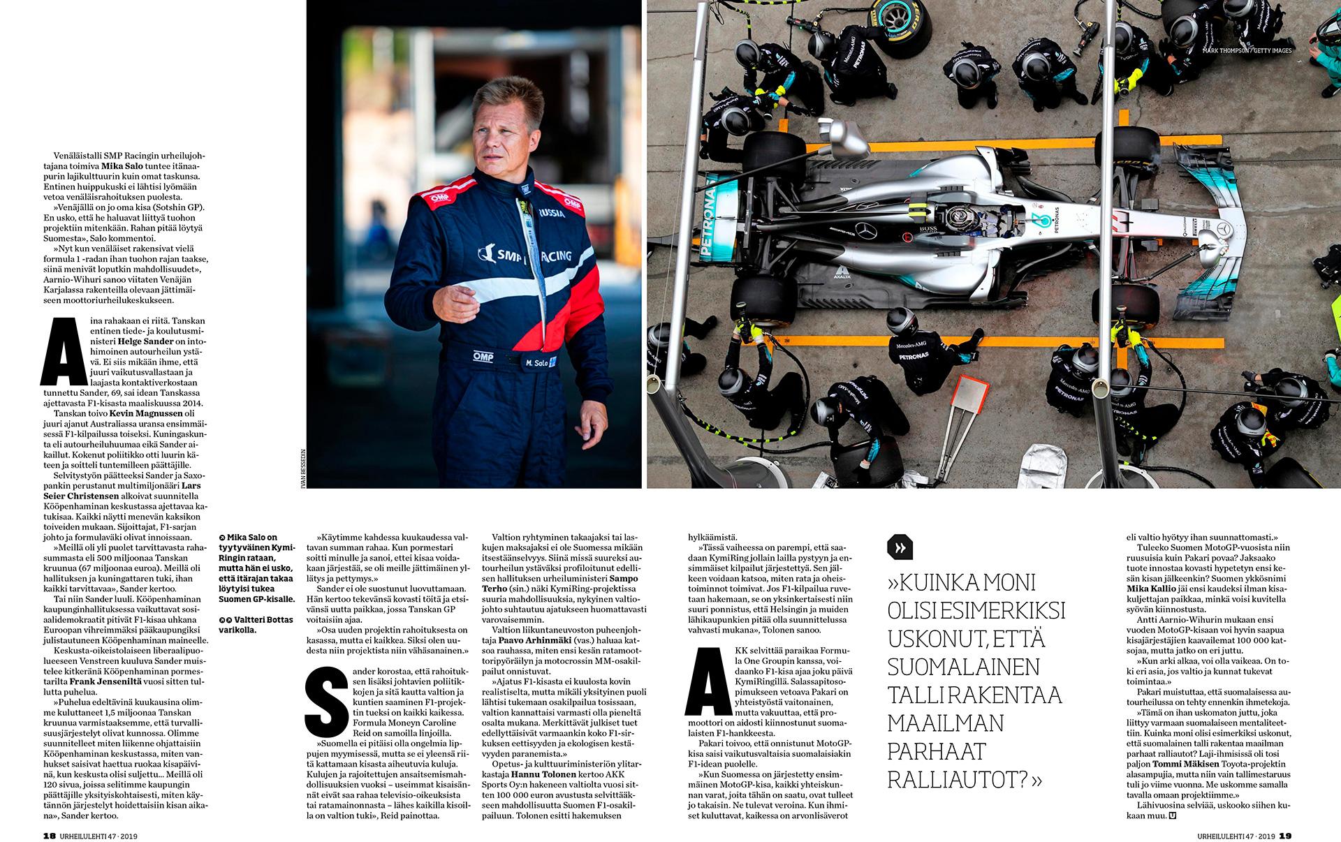 Urheilu Lehti, Ilta-Sanomat, Mika Salo, racing driver, suomalainen autourheilija, entinen Formula 1 -kuljettaja