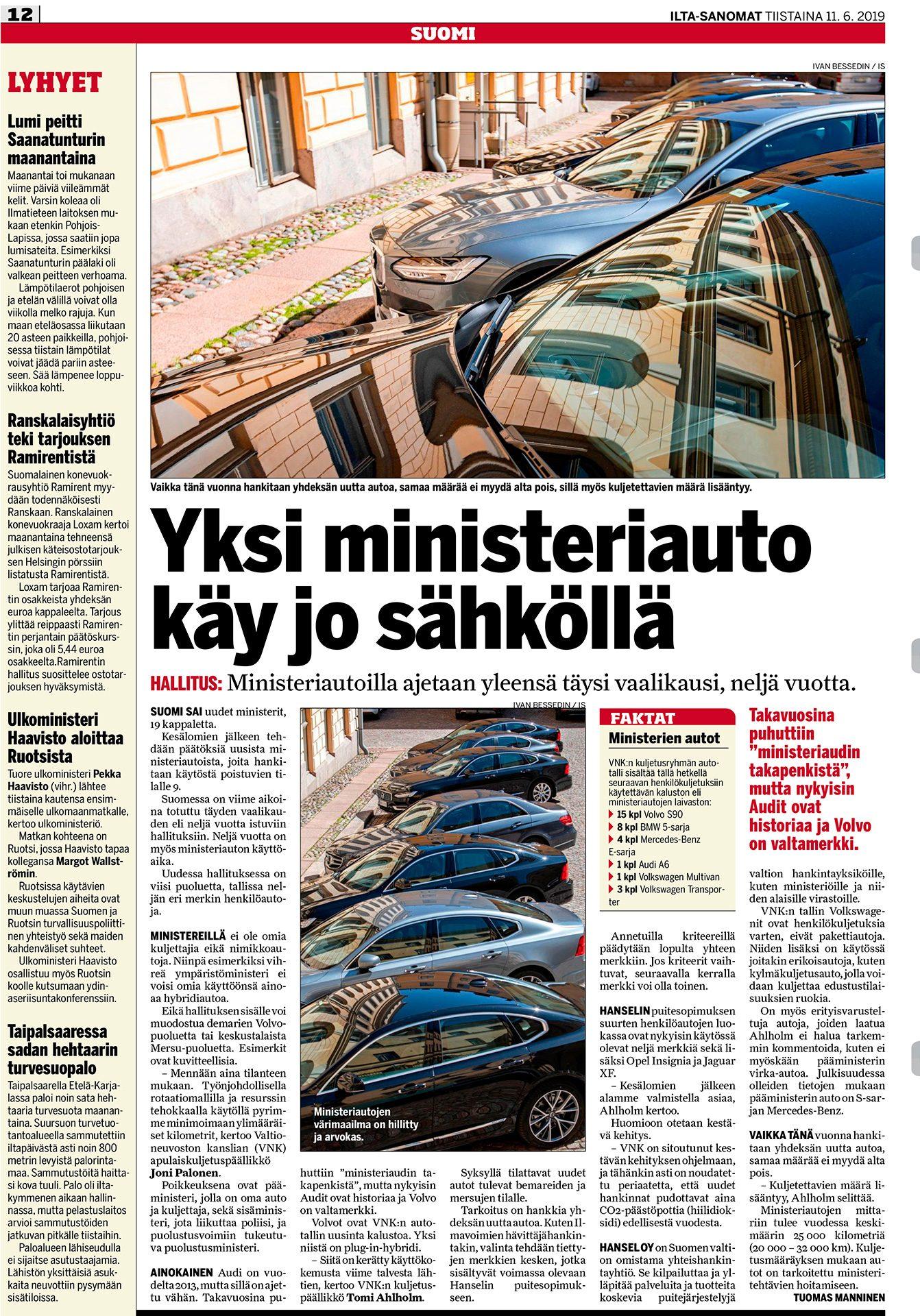 Ilta-Sanomat, Ministeriautoilla ajetaan yleensä täysi vaalikausi, neljä vuotta