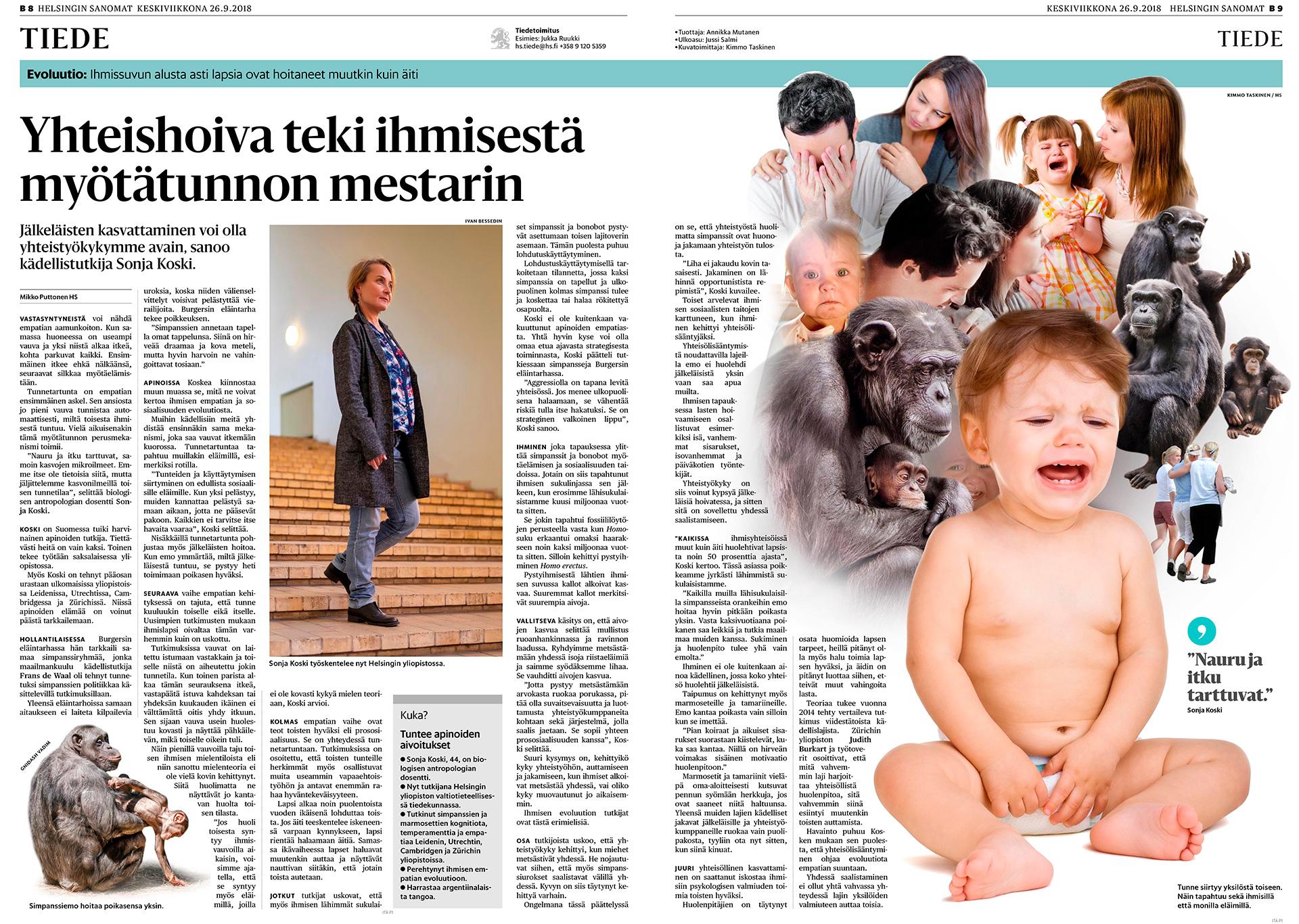 Helsingin Sanomat, Sonja Koski kädellistutkija, 2018