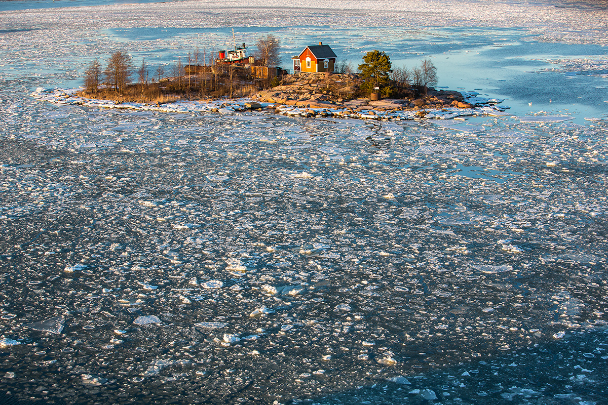Small rocky island in the Baltic Sea, Helsinki, Finland, Suomi