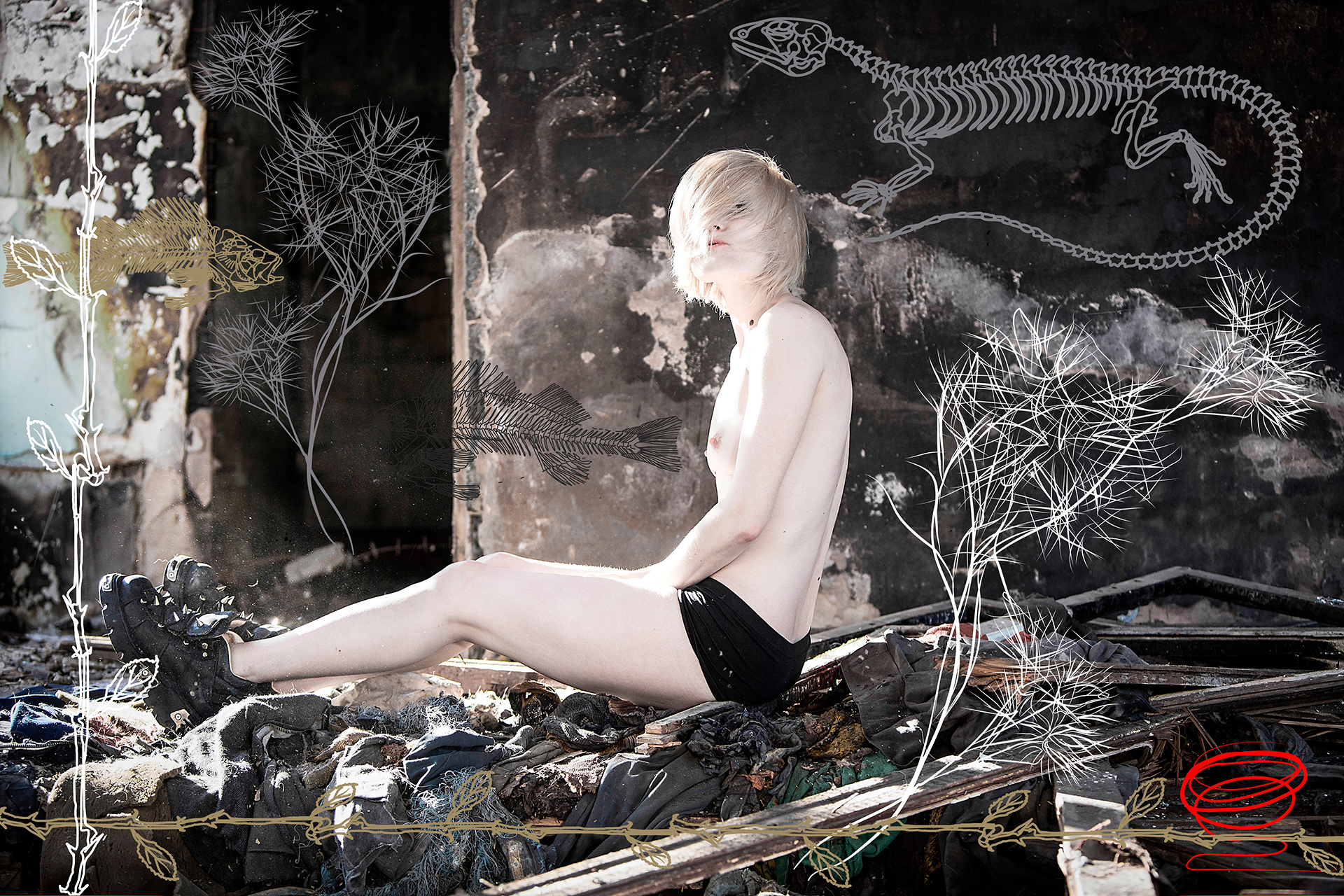 Peace of Meat, exhibition, Photographer, Ivan Bessedin, Model, Fashion, designer, Indira Muratova, Almaty, art, model, style, abandoned, photo session, photoset, photography, thrash, trash, garbage, pollution, ecology, dirty, girl, naked, nude, concrete, reinforcement, armature