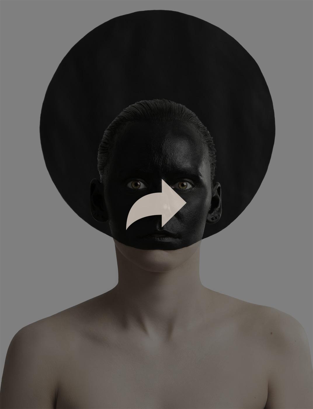 Black Circle, Kazimir Malevich, suprematism, triptych, Black Square, Black Circle, Black Cross, Model, Varvara Agapova, Painting, Eugenia Sorokina, Idea, photography, Ivan Bessedin, art, studio, minimalism, fashion