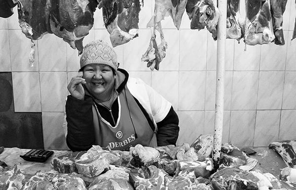 Green market, Kazakhstan, meat seller, meat merchant, meat